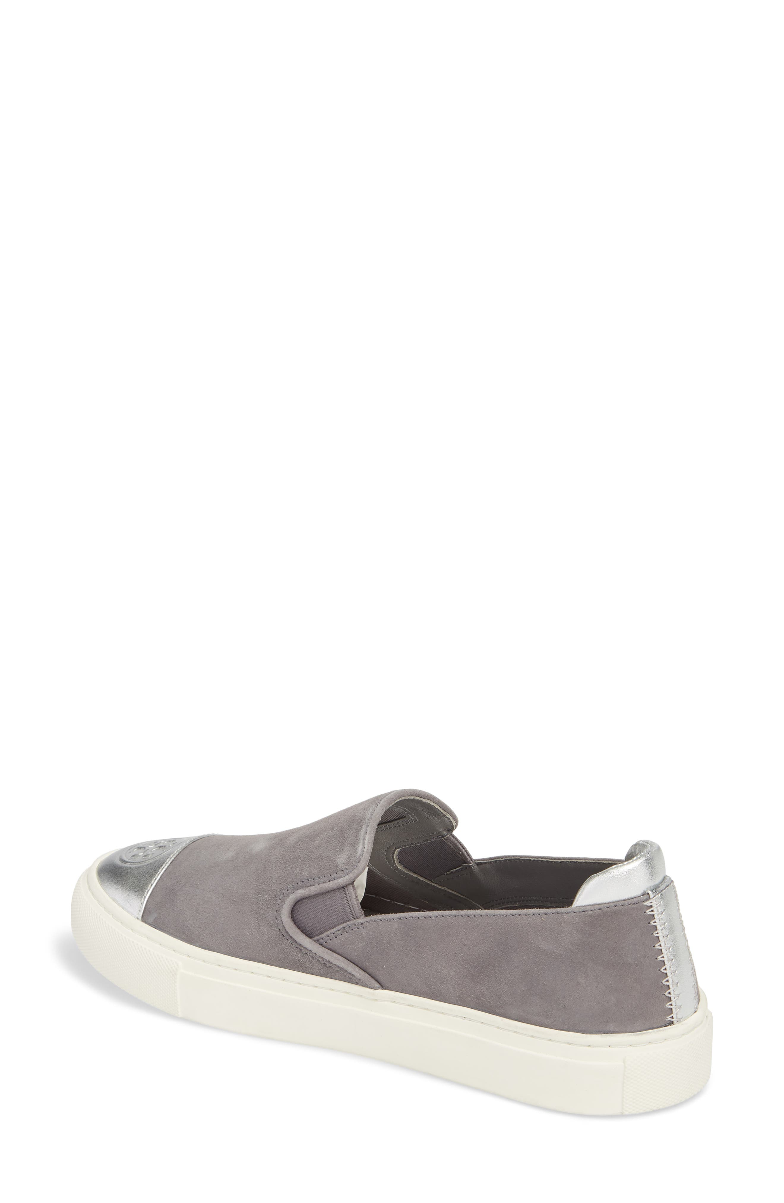 Colorblock Slip-On Sneaker,                             Alternate thumbnail 2, color,                             Carbon/ Silver