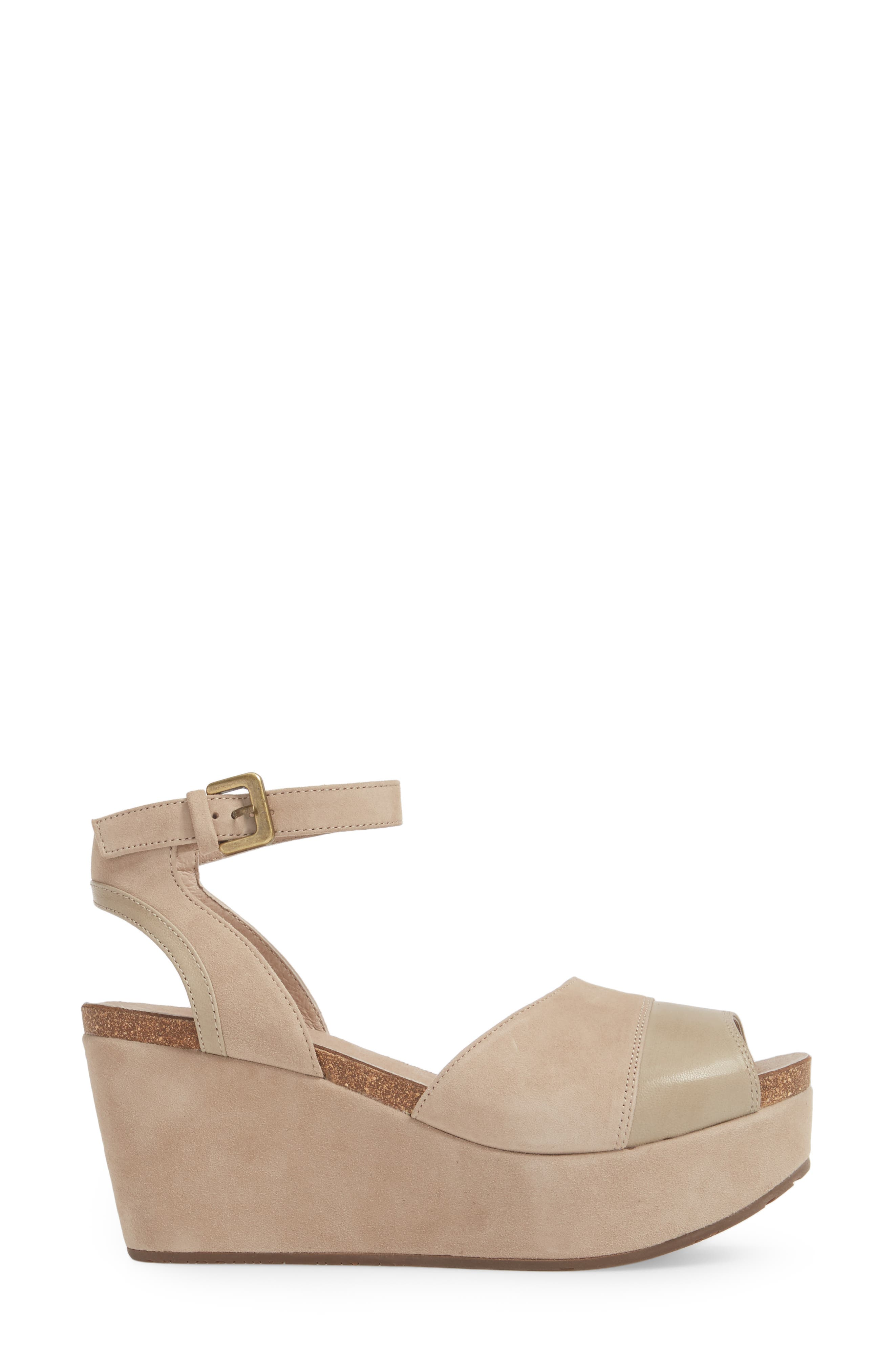 Chocolate Blu Welby Ankle Strap Wedge Sandal,                             Alternate thumbnail 3, color,                             Taupe Suede
