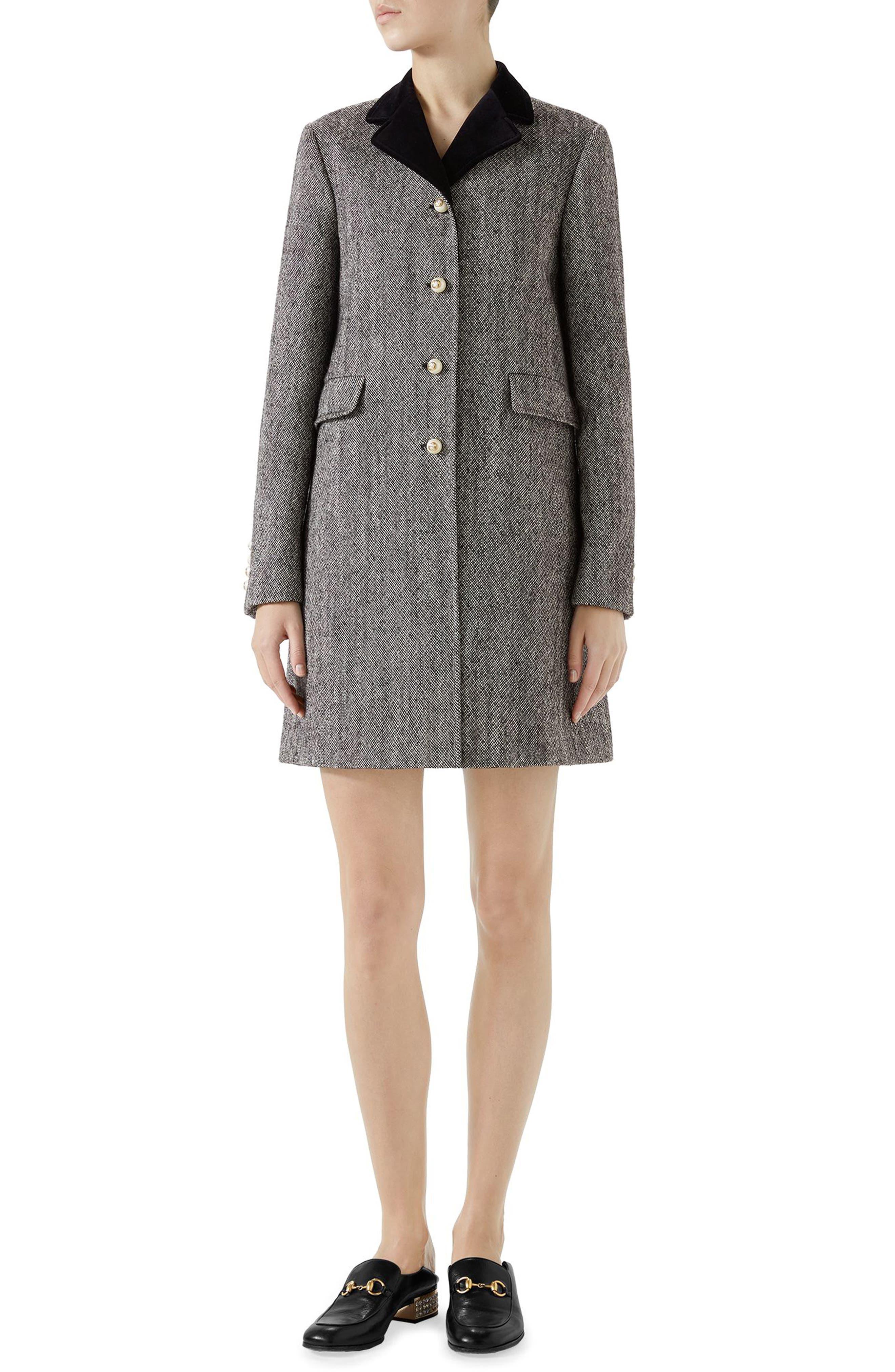 Velvet Collar Wool Blend Coat,                             Main thumbnail 1, color,                             Black/ Bone