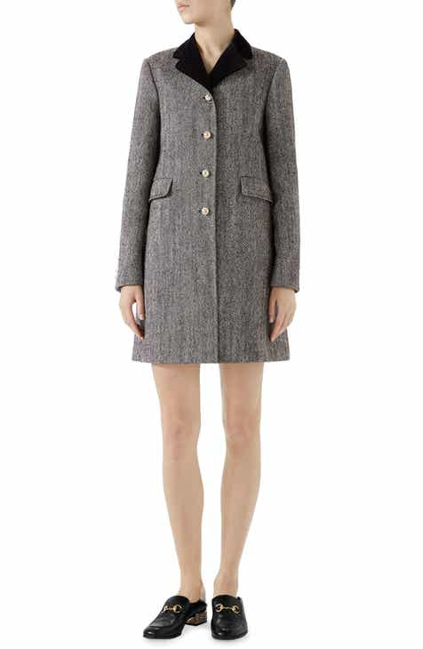 Gucci Velvet Collar Wool Blend Coat by GUCCI