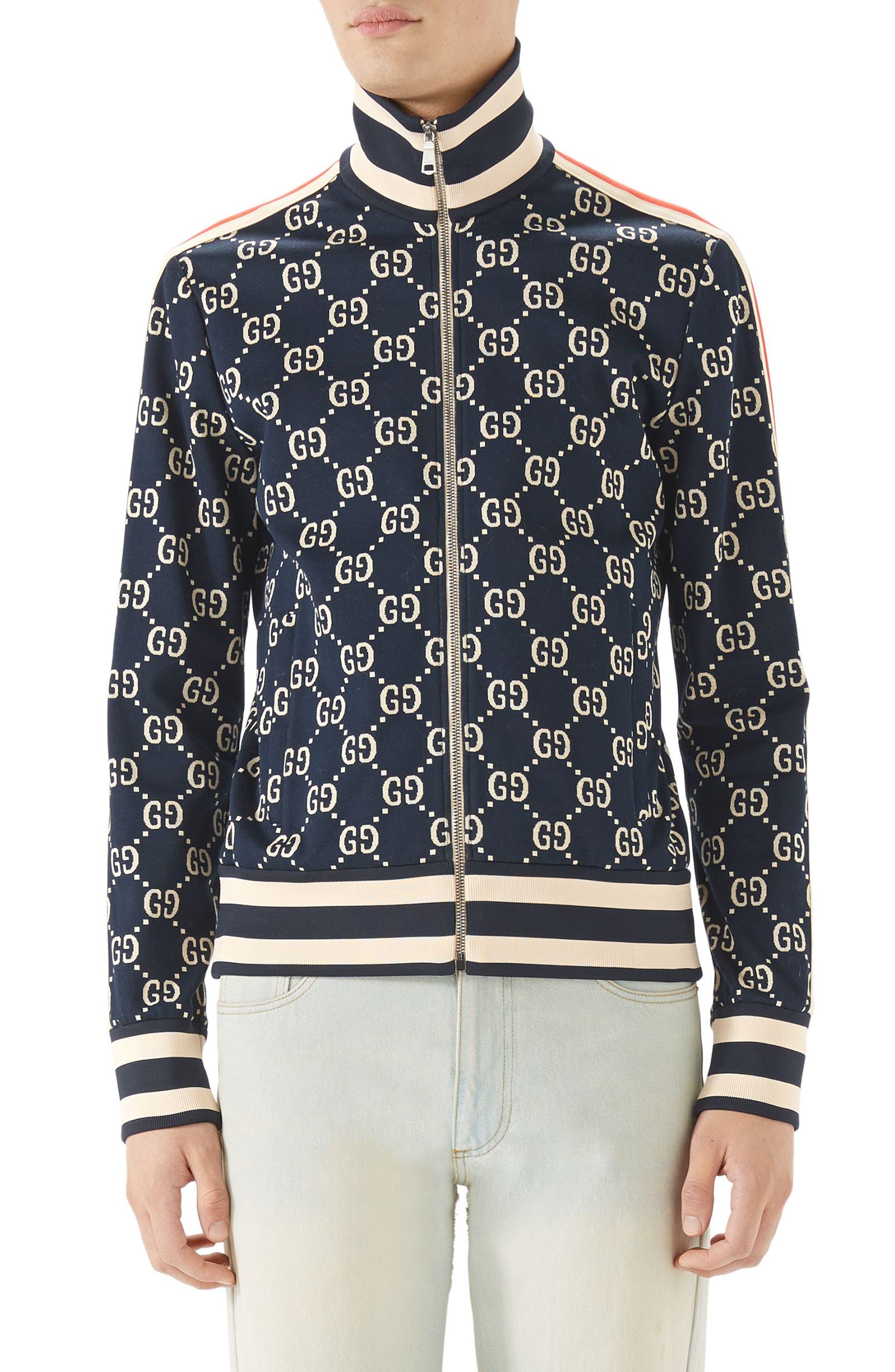 GG Jersey Track Jacket,                         Main,                         color, Blue