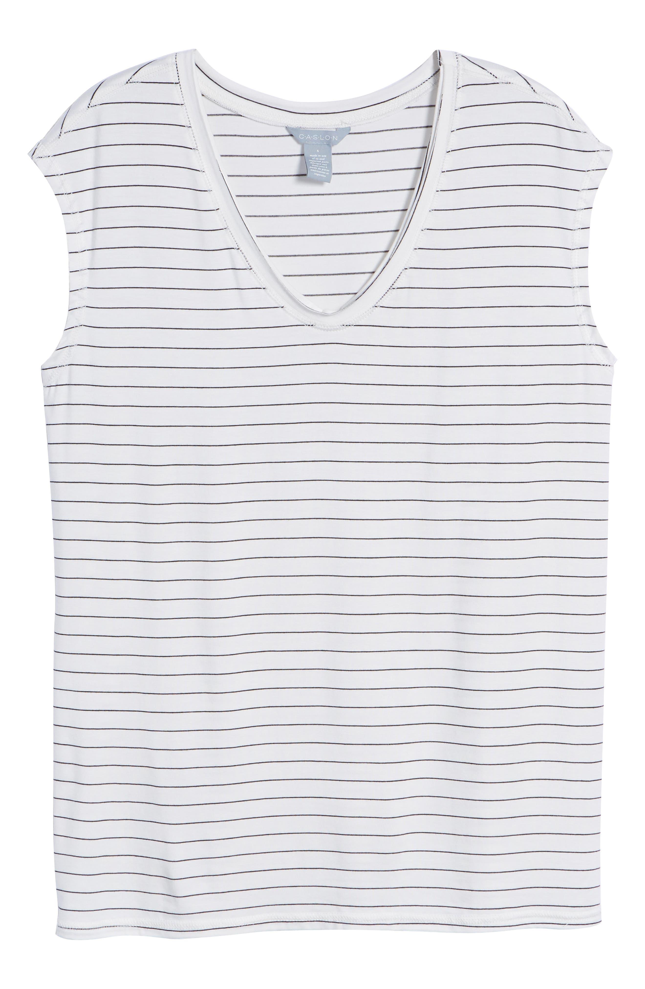 Off-Duty Sleeveless Stretch Knit Top,                             Alternate thumbnail 6, color,                             White- Black Cloud Stripe