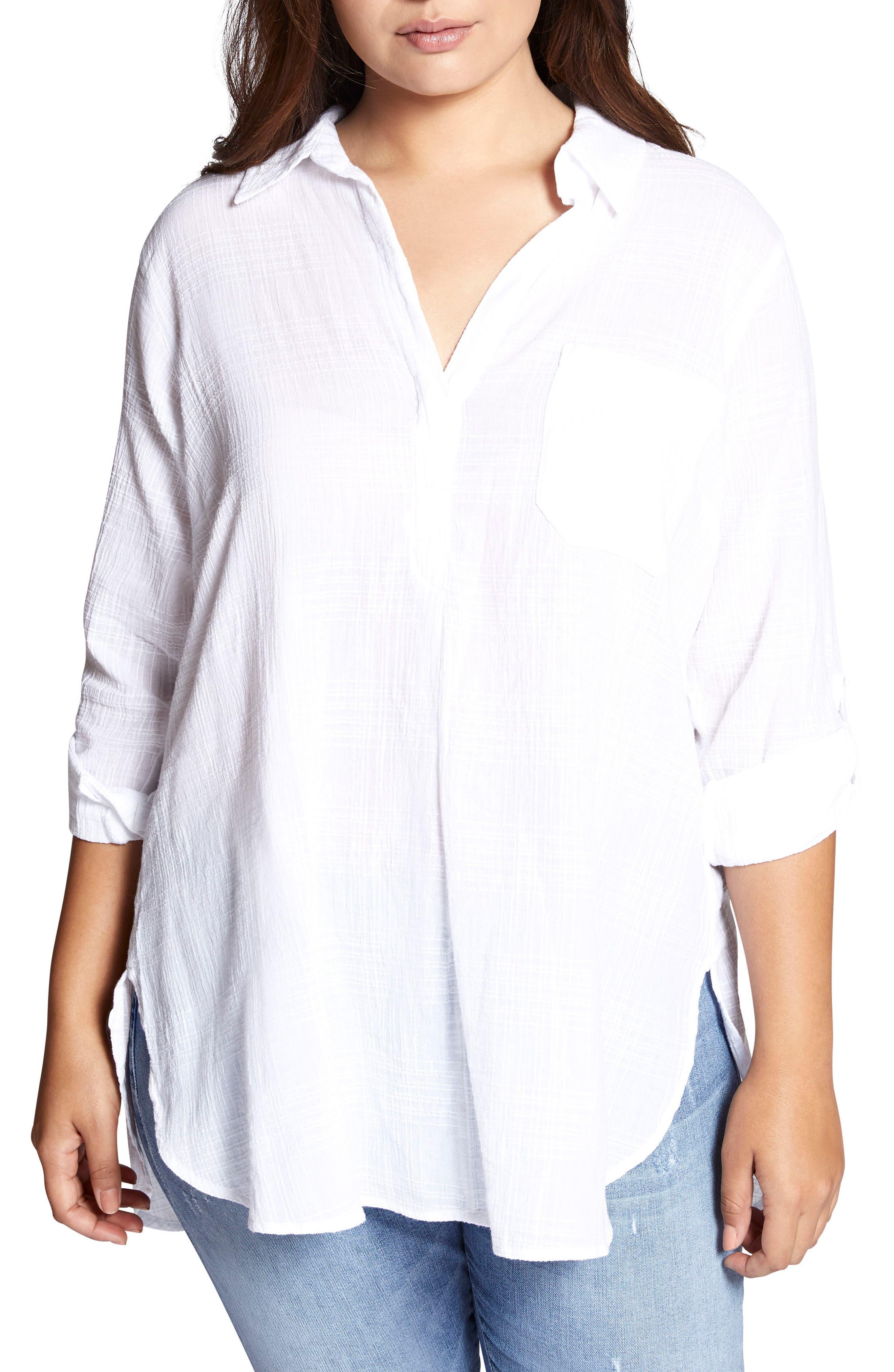 Miles Maxi Tunic Top,                         Main,                         color, White