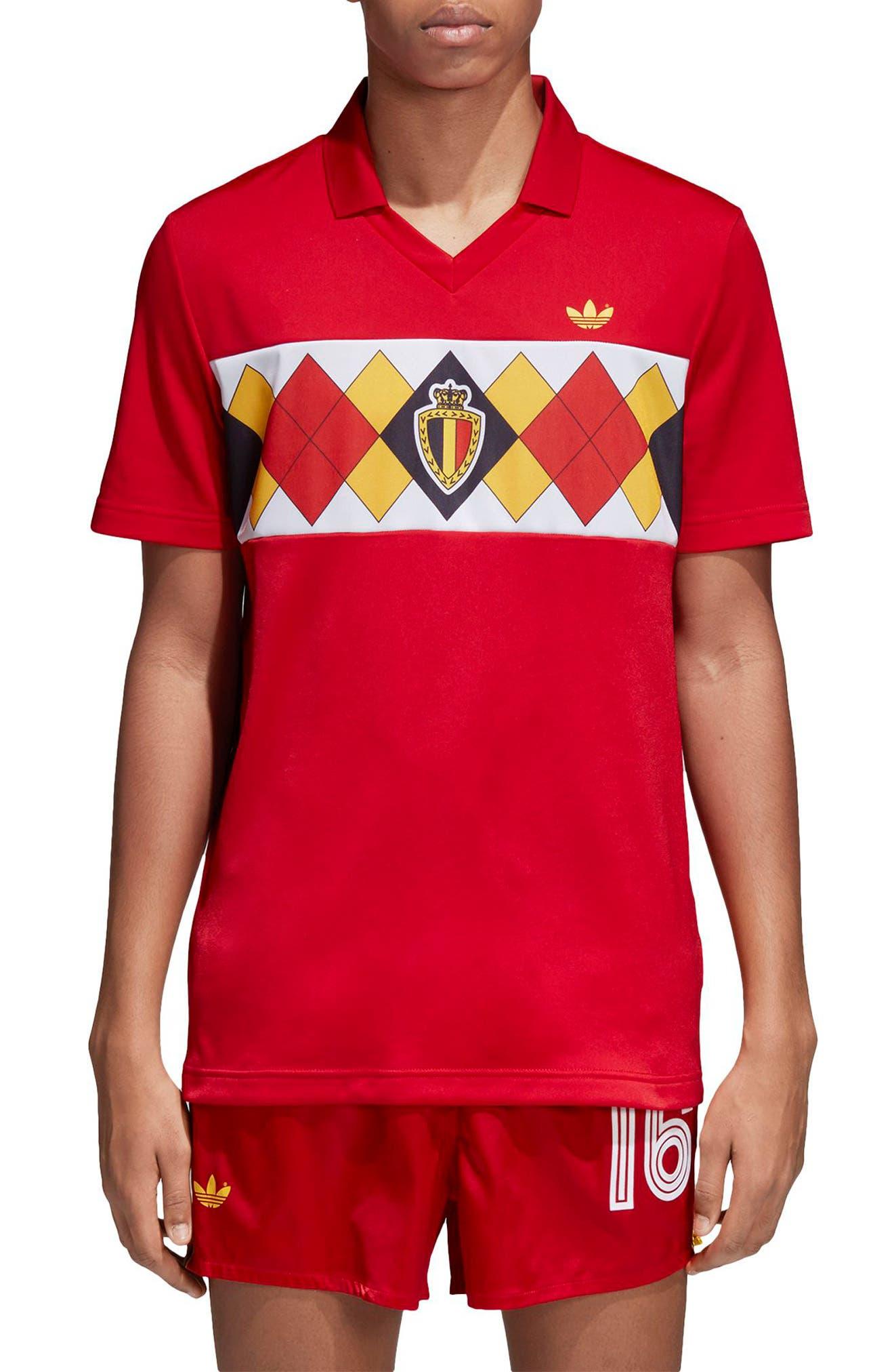 adidas Original Belgium 1984 Soccer Jersey,                             Main thumbnail 1, color,                             Vicred