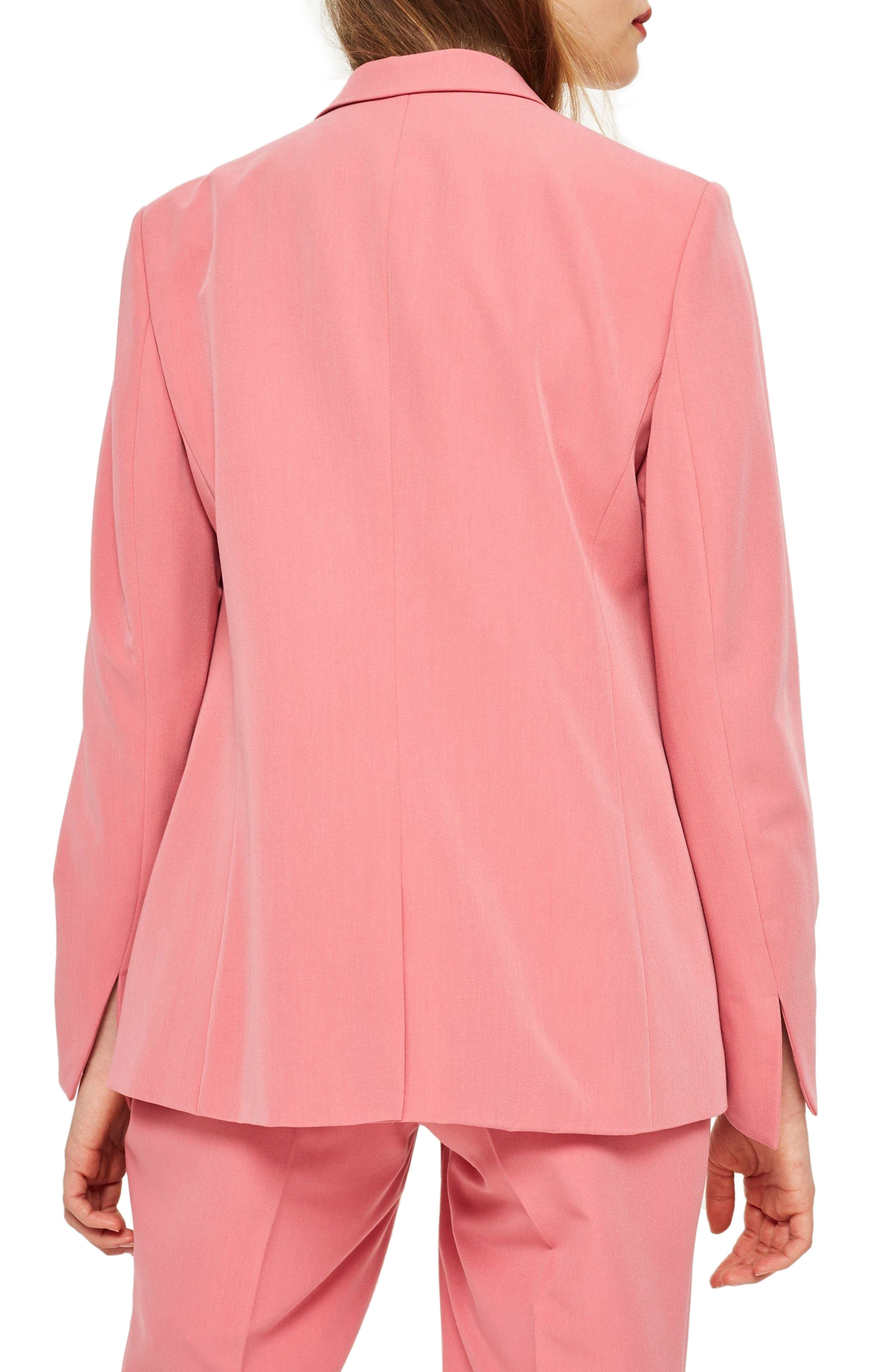 Longline Double Breasted Button Suit Jacket,                             Alternate thumbnail 2, color,                             Pink