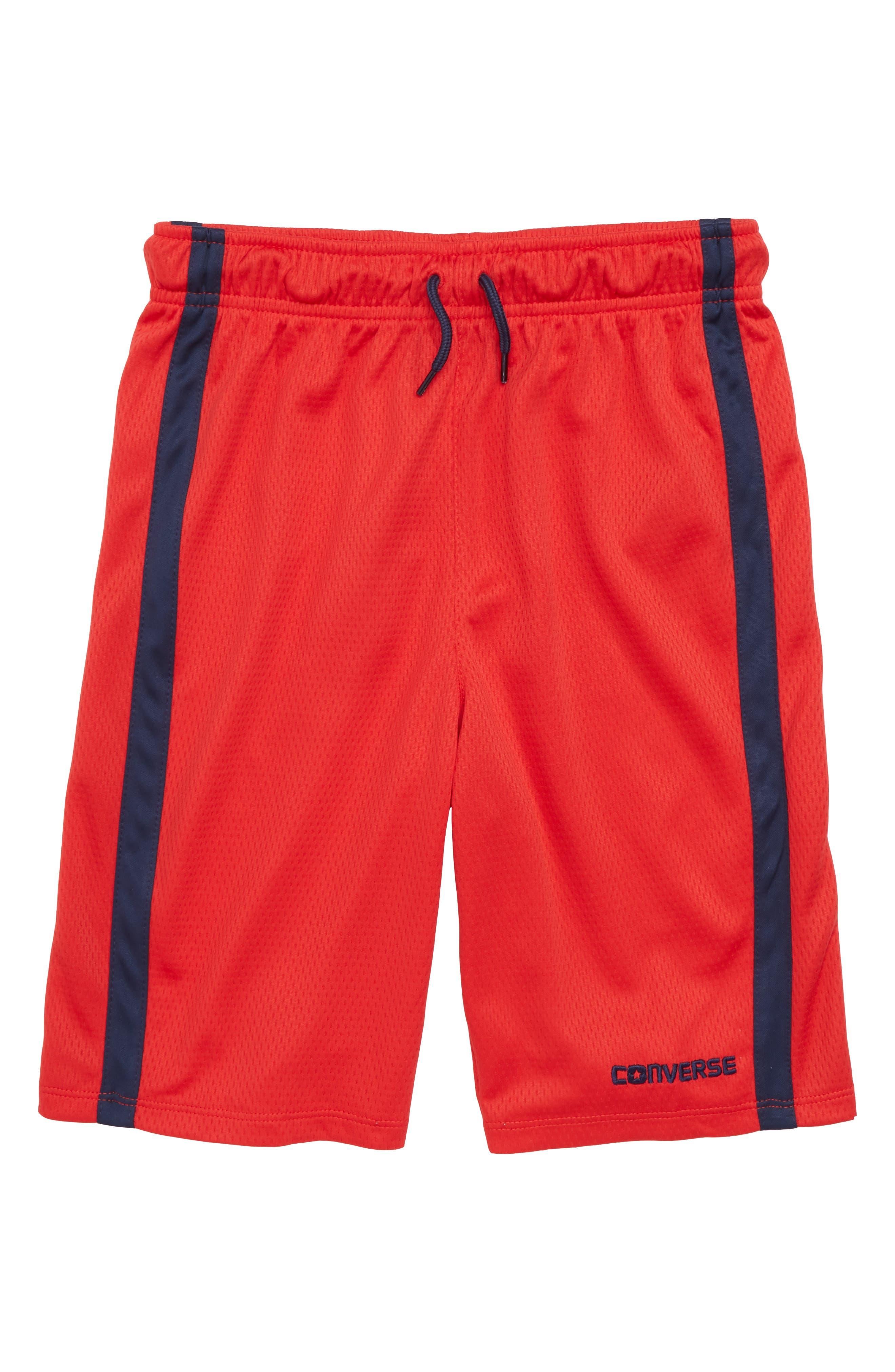 Stripe Mesh Shorts,                             Main thumbnail 1, color,                             Converse Red