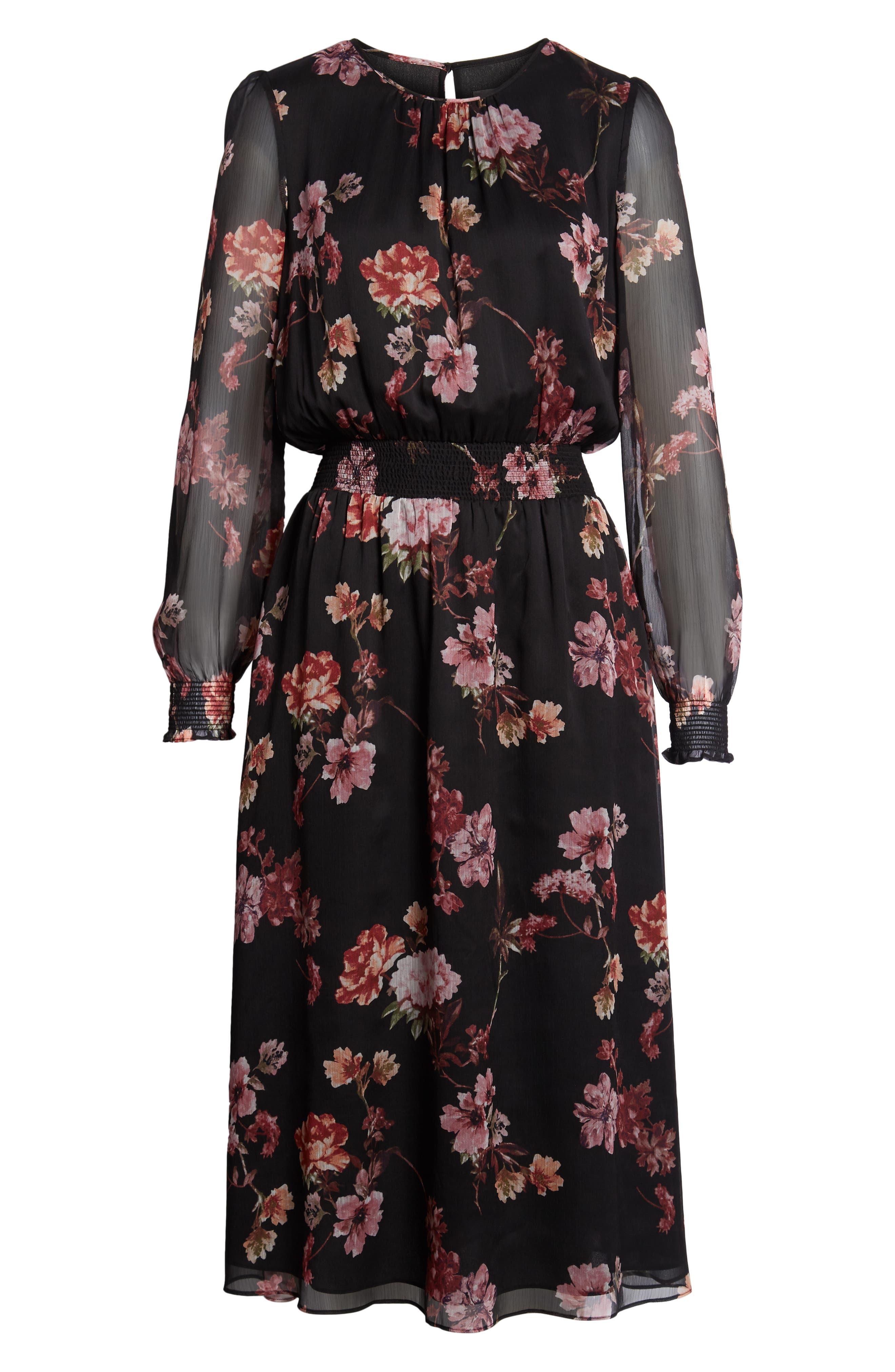 Garden Fleur Chiffon Blouson Dress,                             Alternate thumbnail 7, color,                             Rich Black