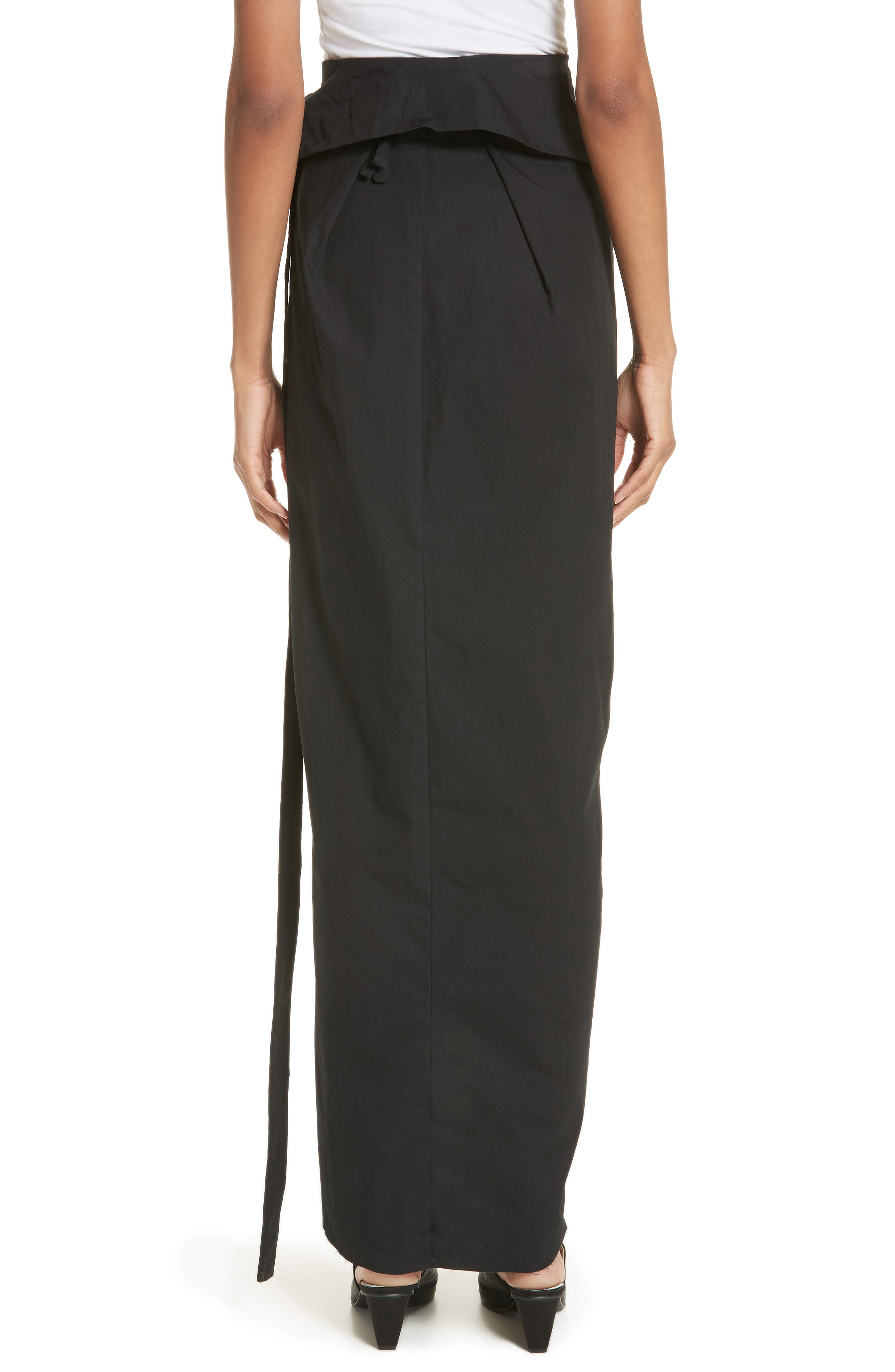 High Waist Wrap Skirt,                             Alternate thumbnail 2, color,                             Black