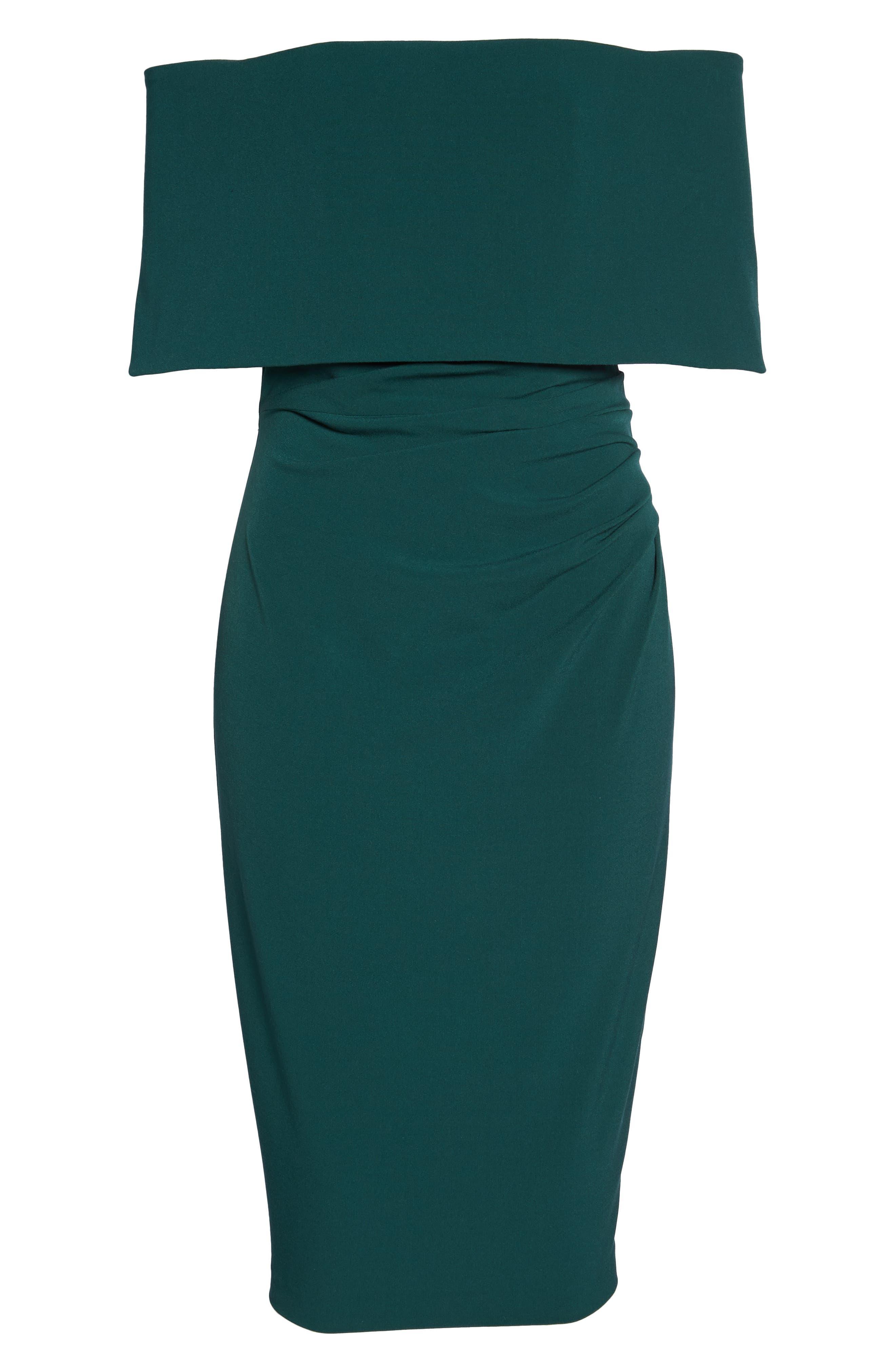 Popover Midi Dress,                             Alternate thumbnail 6, color,                             Emerald