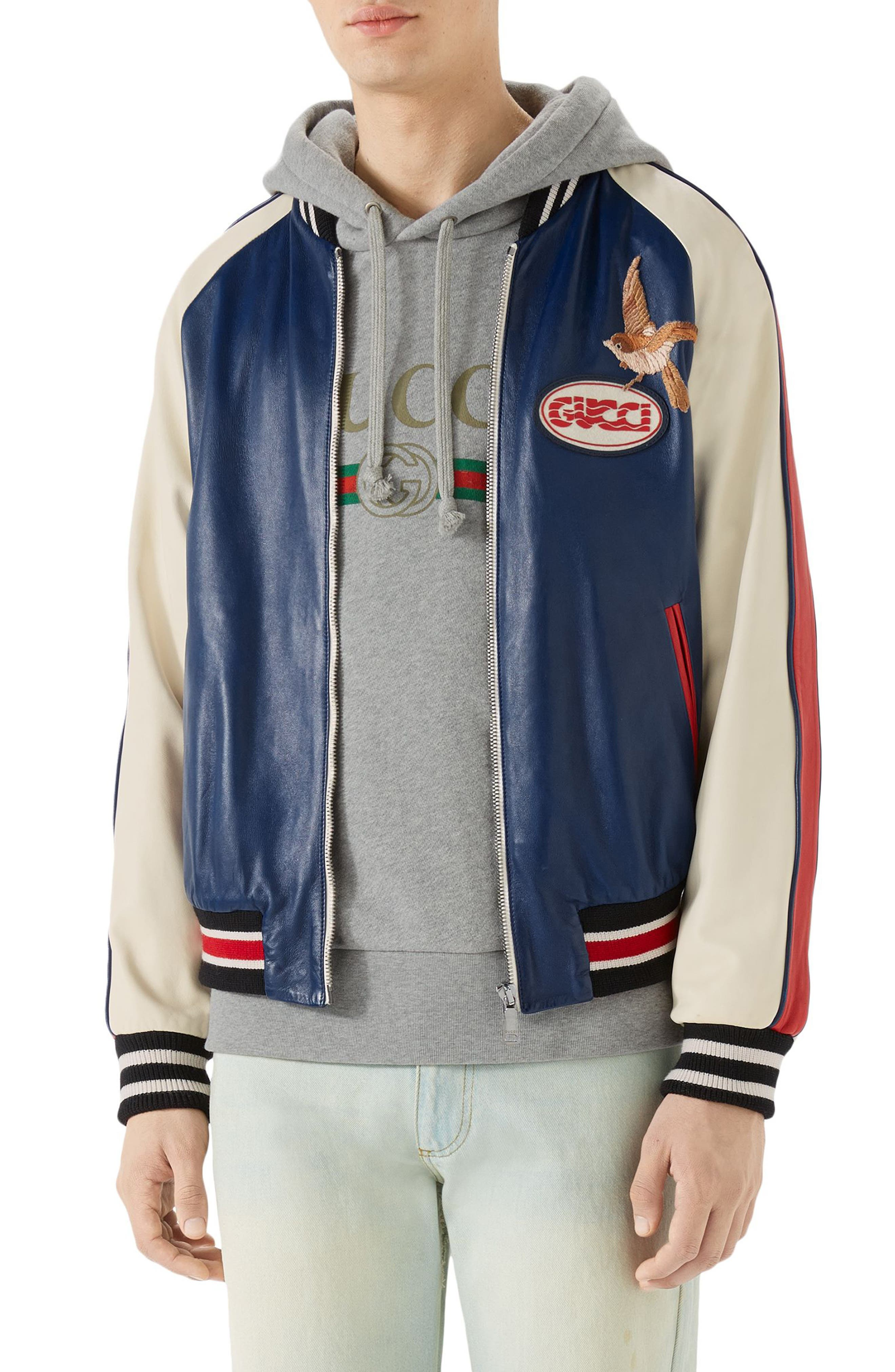 Multicolor Leather Bomber Jacket,                         Main,                         color, Cobalt Blue