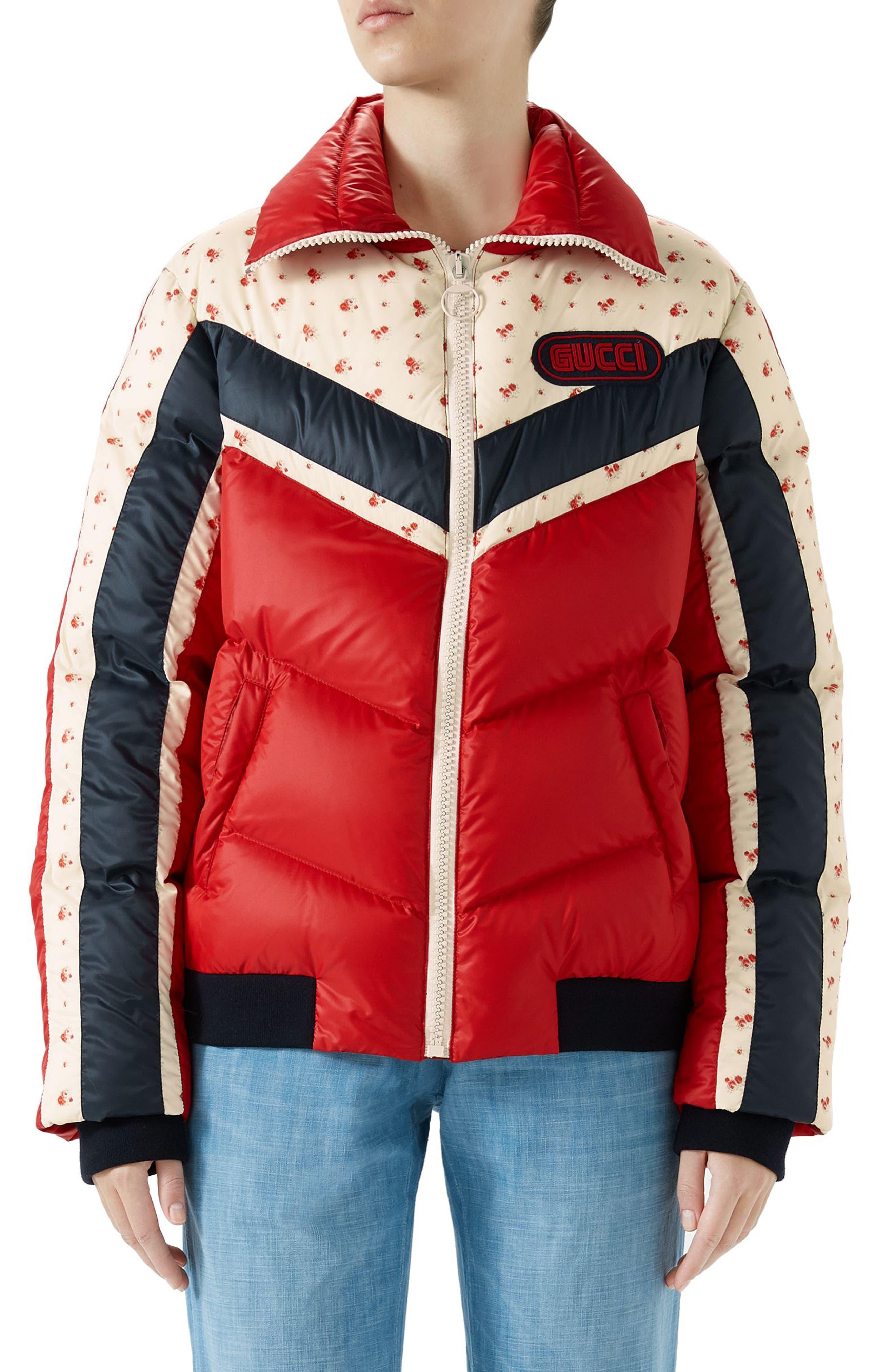 Floral & Stripe Puffer Jacket,                         Main,                         color, Multi