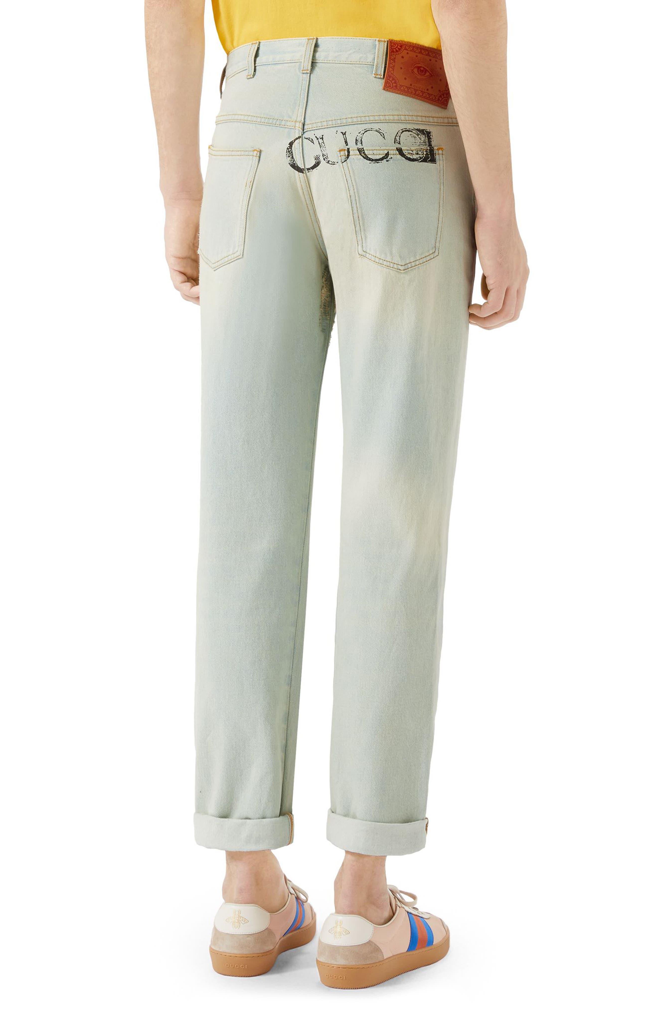 Bleach Washed Jeans,                             Alternate thumbnail 2, color,                             Light Blue