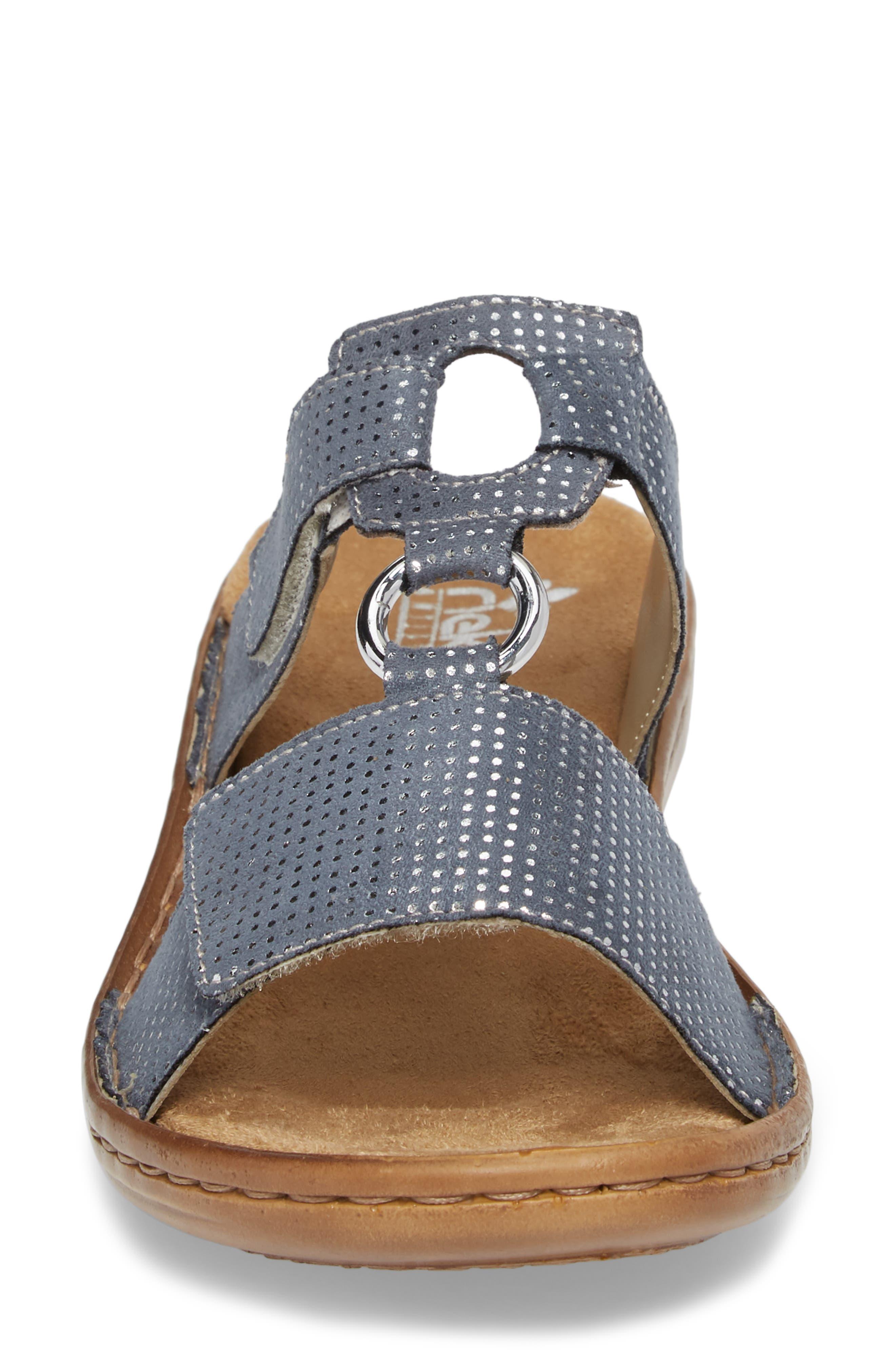 Regina P9 Slide Sandal,                             Alternate thumbnail 4, color,                             White Denim Fabric