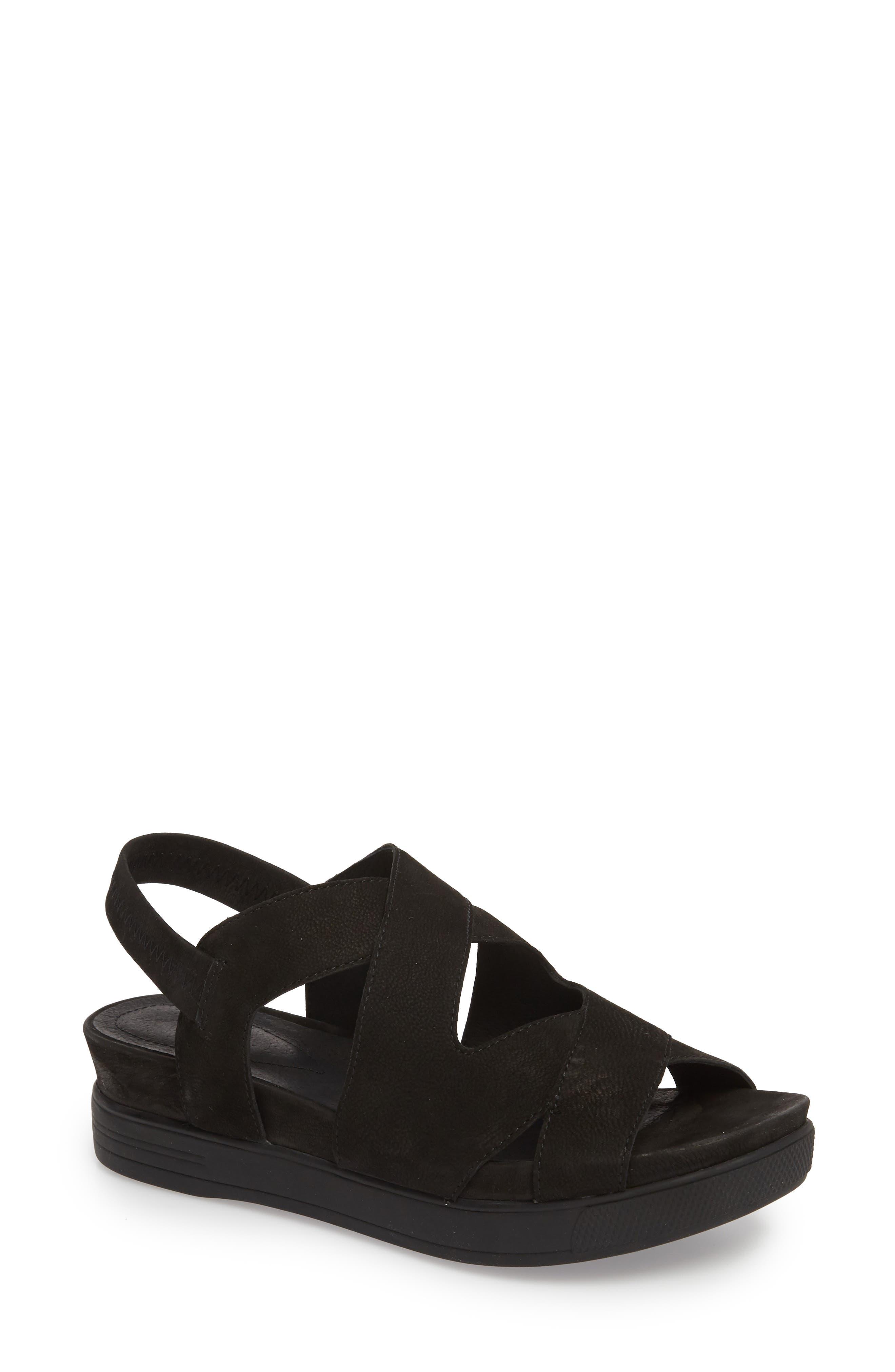 Sonny Sandal,                         Main,                         color, Black Nubuck Leather