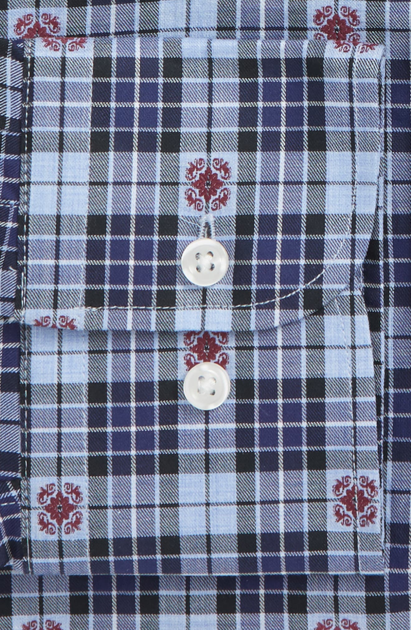 Traditional Fit Plaid Dress Shirt,                             Alternate thumbnail 5, color,                             Navy Dress