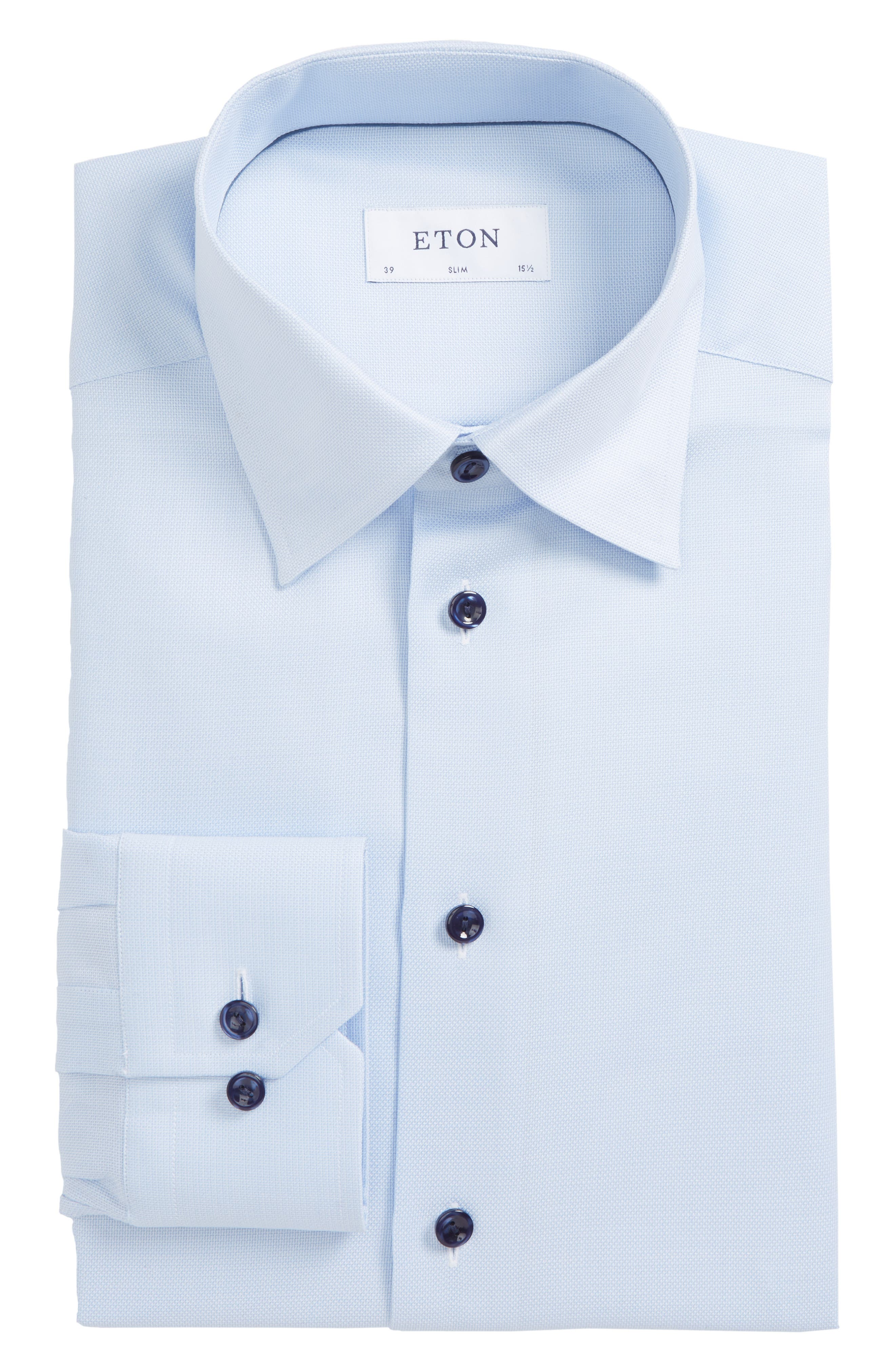 Slim Fit Solid Dress Shirt,                             Alternate thumbnail 6, color,                             Blue