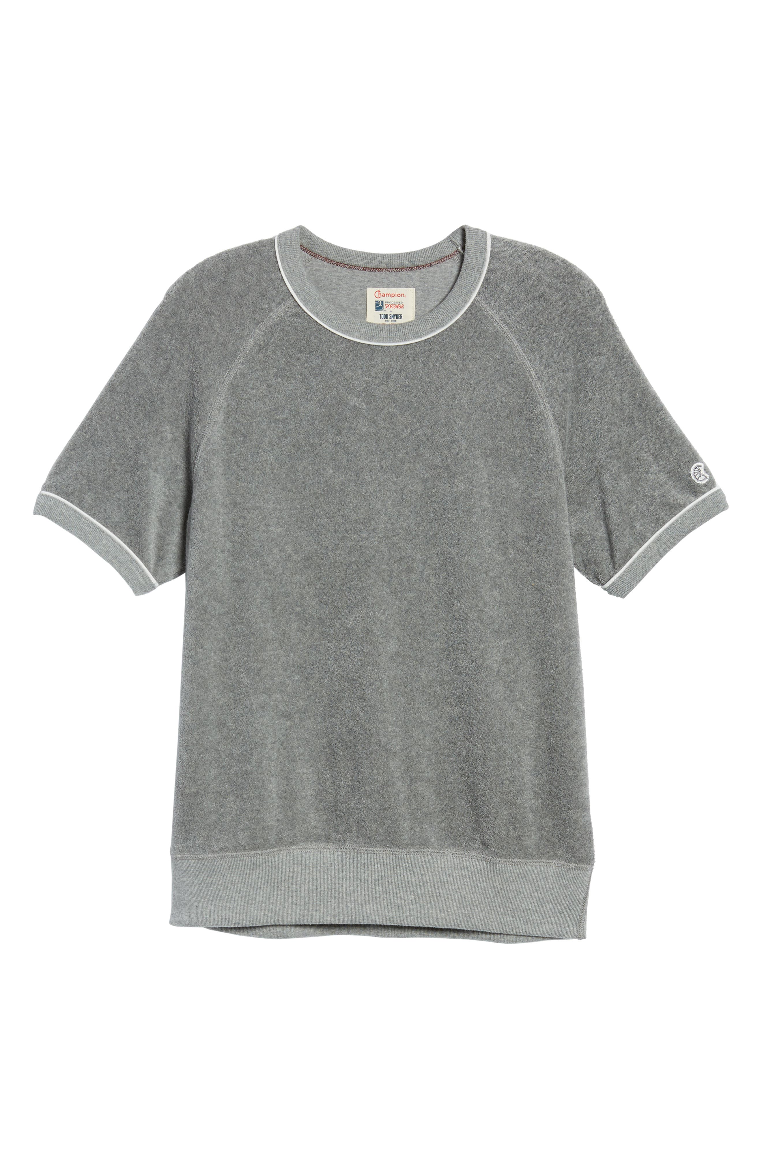 + Champion Short Sleeve Terry Sweatshirt,                             Alternate thumbnail 6, color,                             Grey