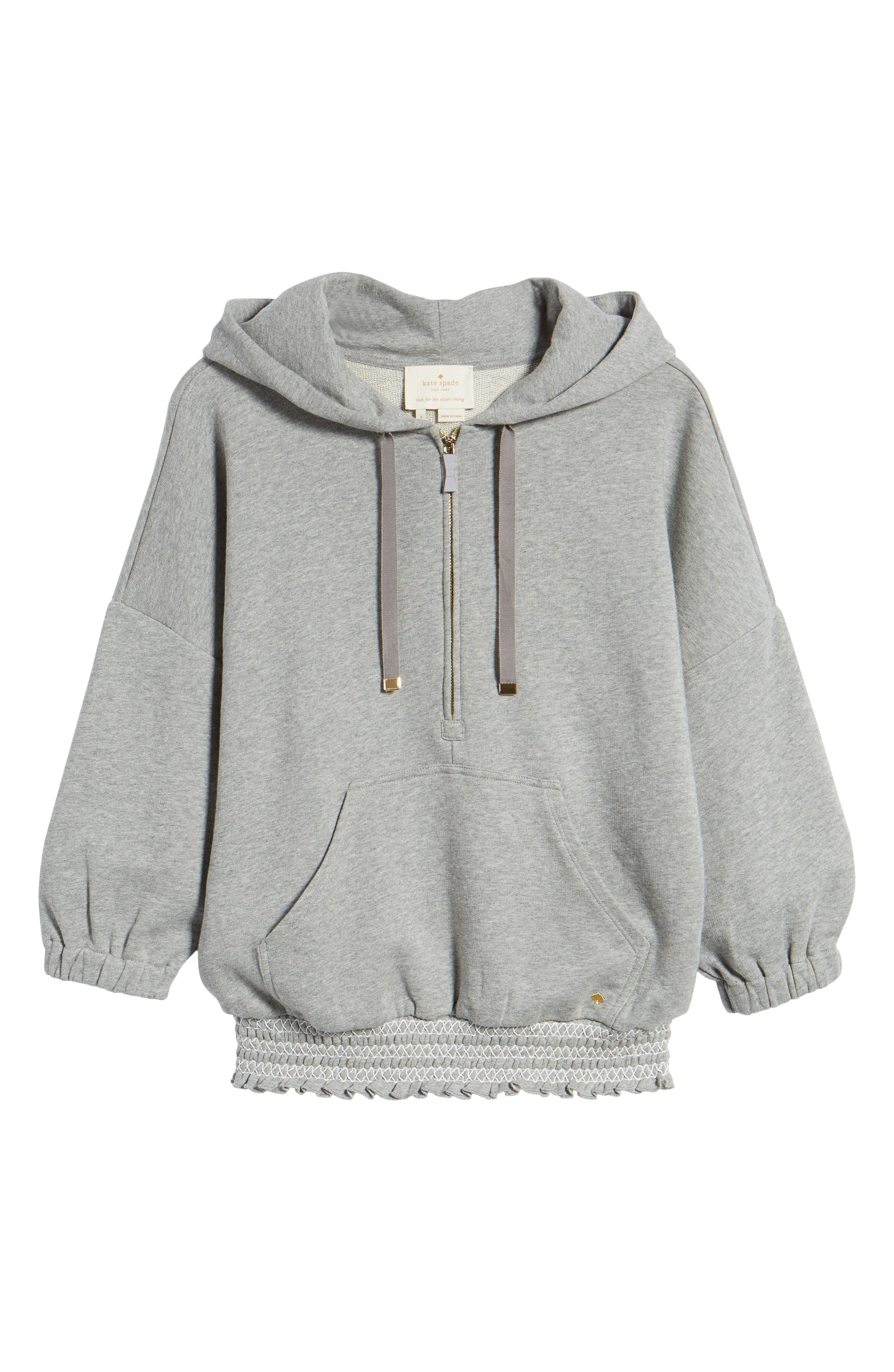 smocked hoodie sweatshirt,                             Alternate thumbnail 6, color,                             Flint Heather