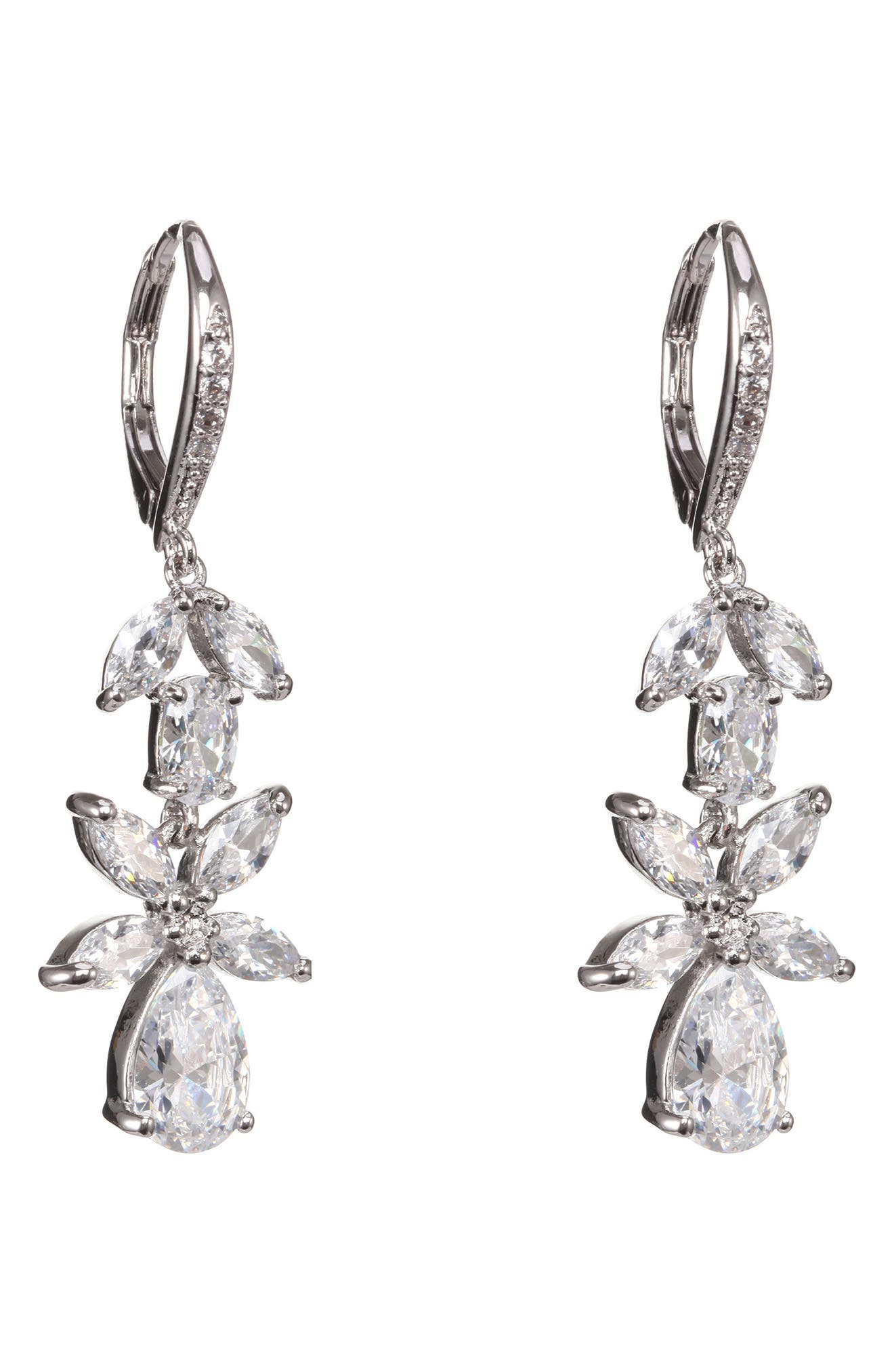 Floral Cubic Zirconia Earrings,                             Alternate thumbnail 3, color,                             White/ Silver