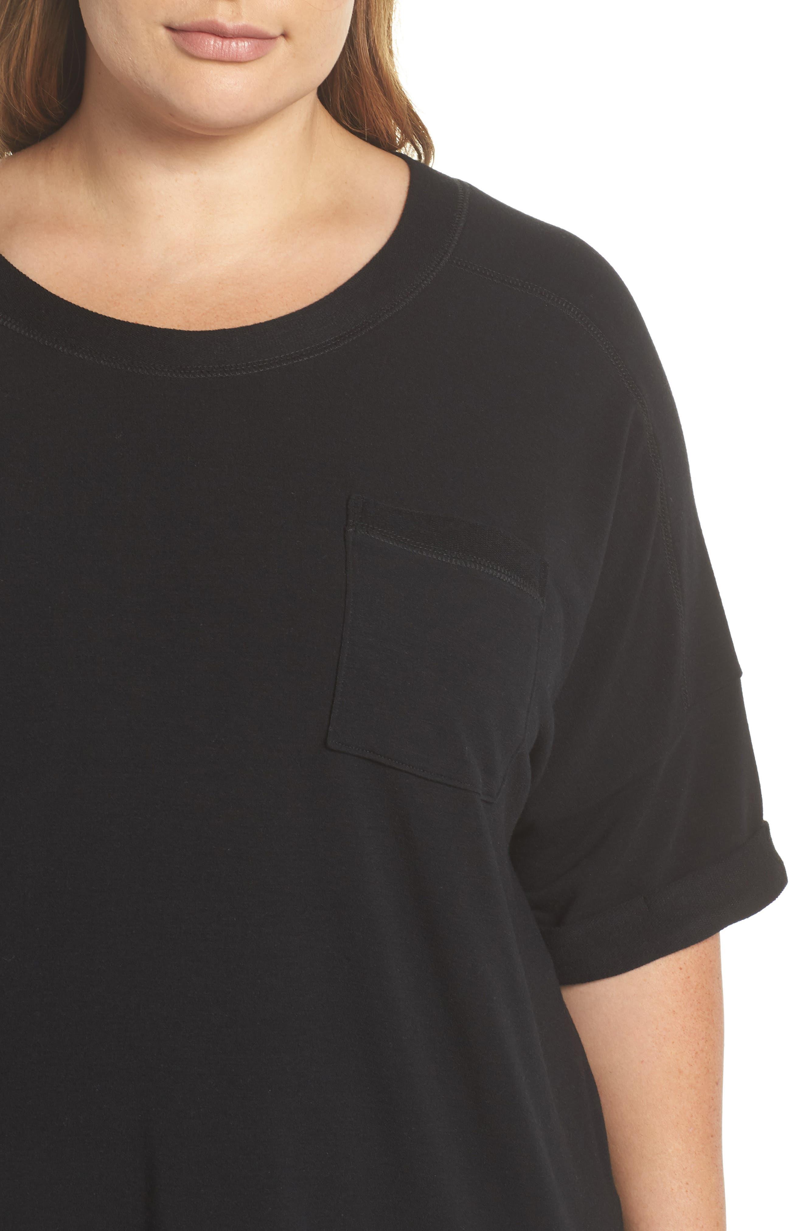 Alternate Image 4  - Caslon® Pocket Fleece Tee (Plus Size)