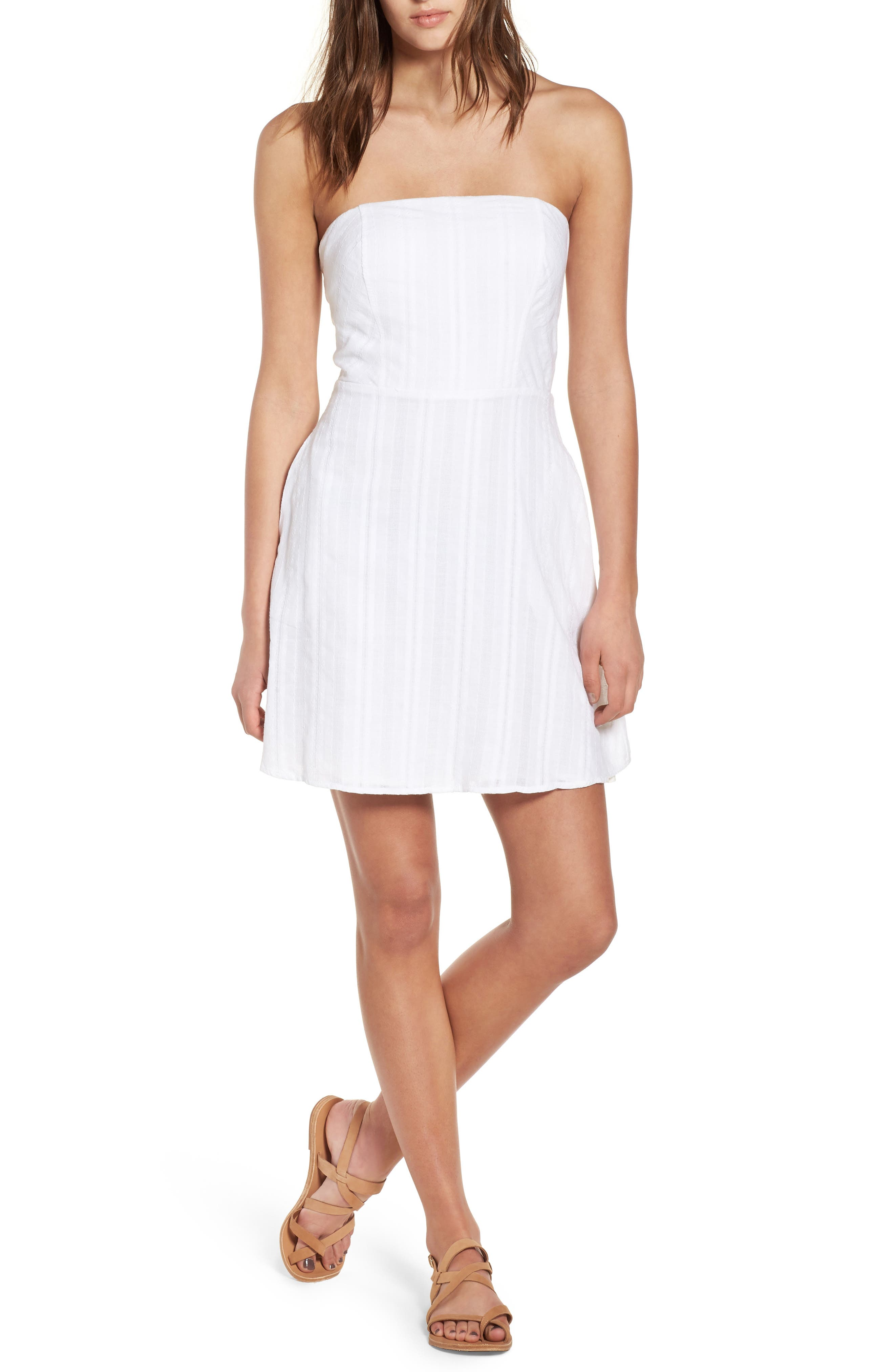 Strapless Tie Back Dress,                         Main,                         color, White