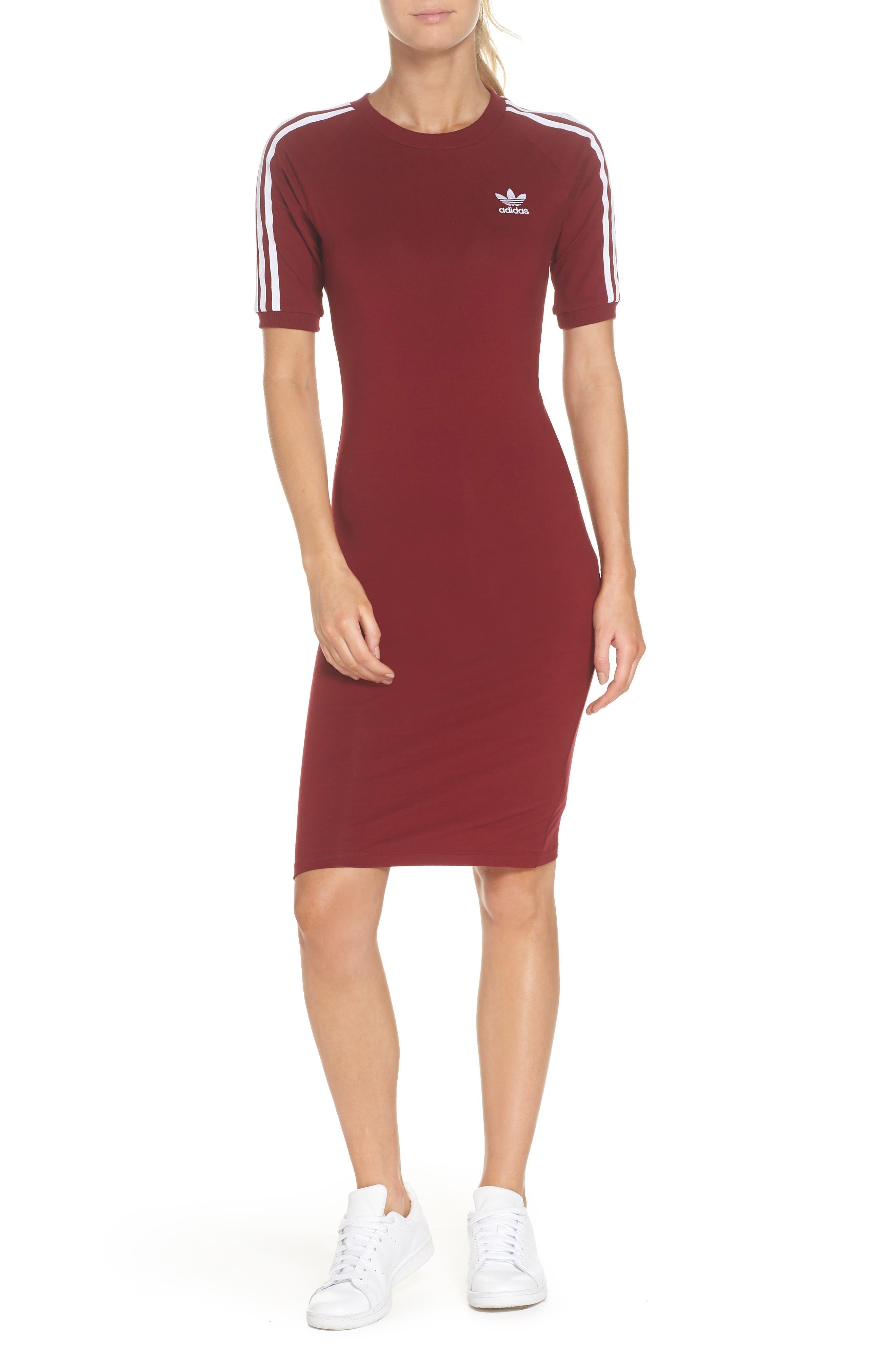 Originals 3-Stripes Dress,                             Main thumbnail 1, color,                             Collegiate Burgundy