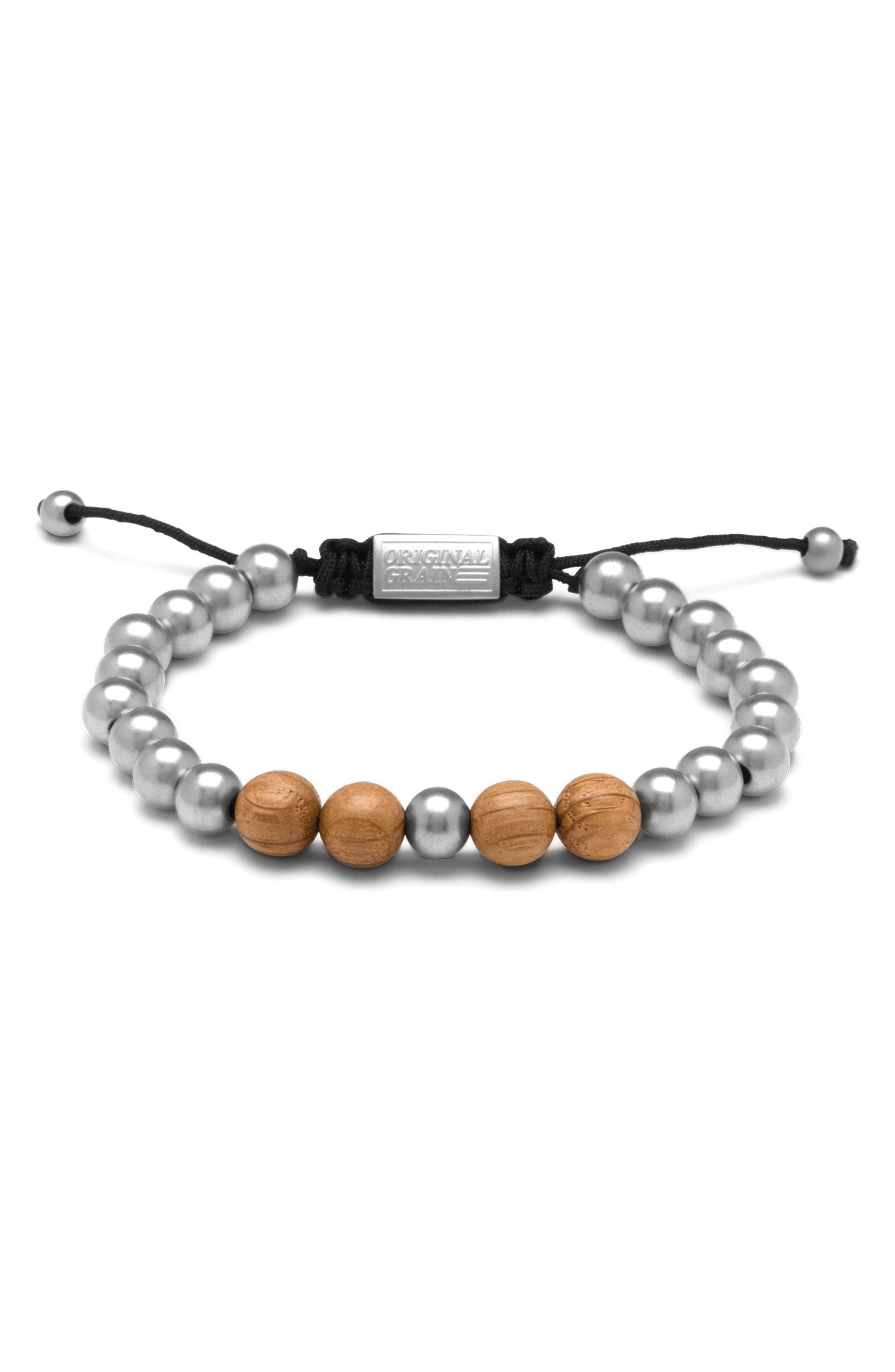 Bead Bracelet,                         Main,                         color, Brewmaster Steel
