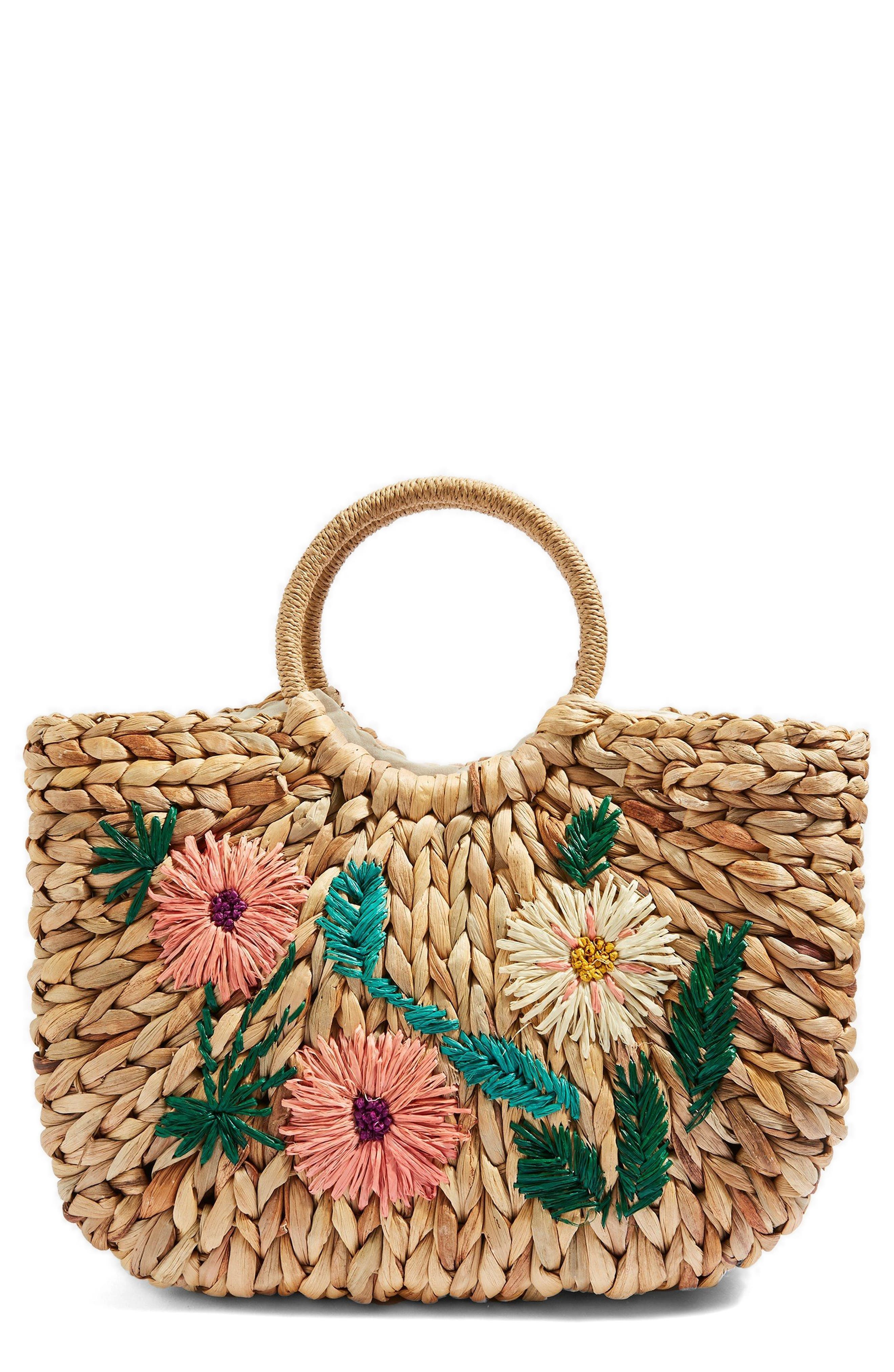 Beverly Floral Embroidered Straw Tote Bag,                         Main,                         color, Nude Multi