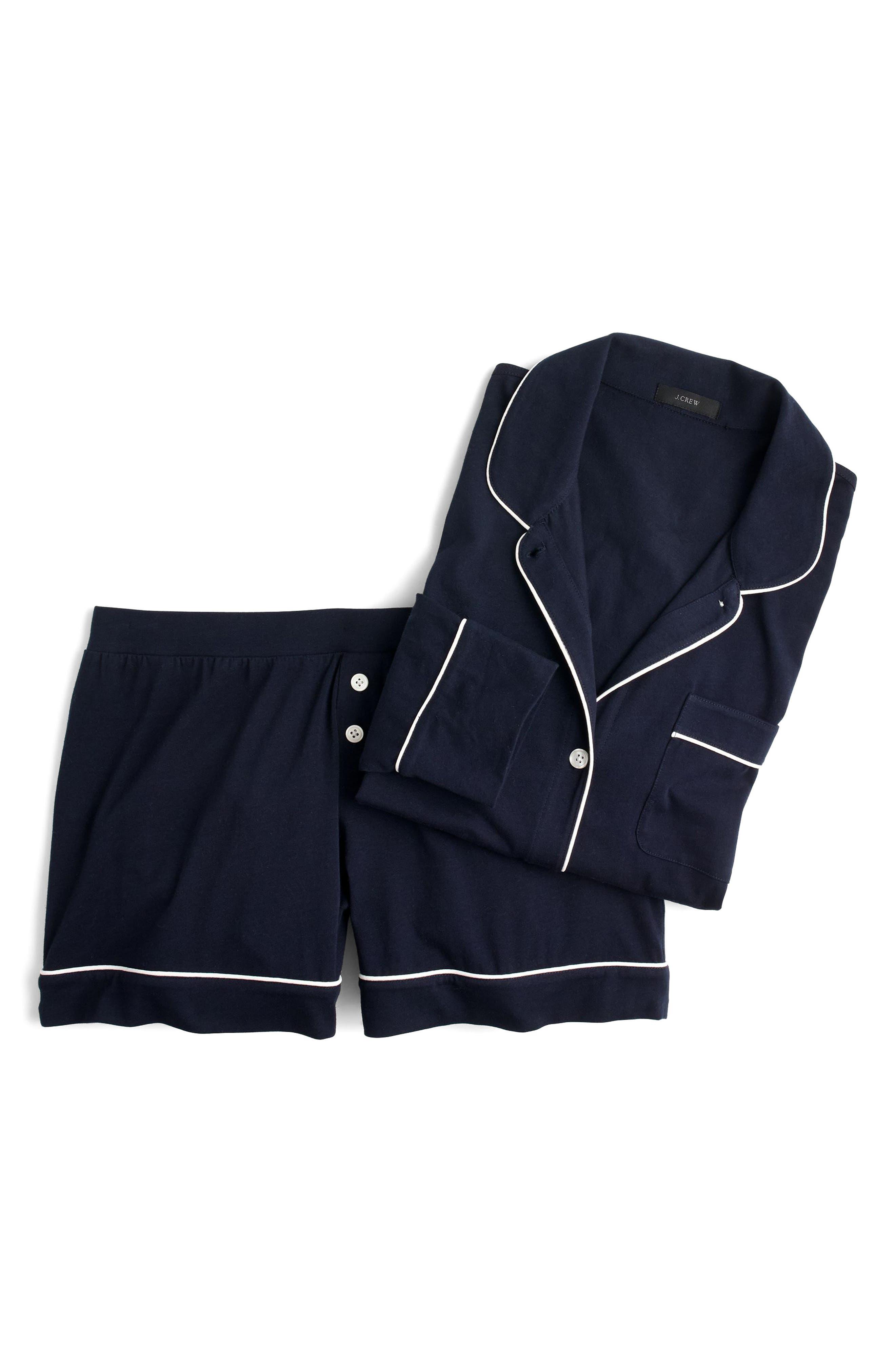 Dreamy Short Cotton Pajamas,                             Alternate thumbnail 3, color,                             Navy