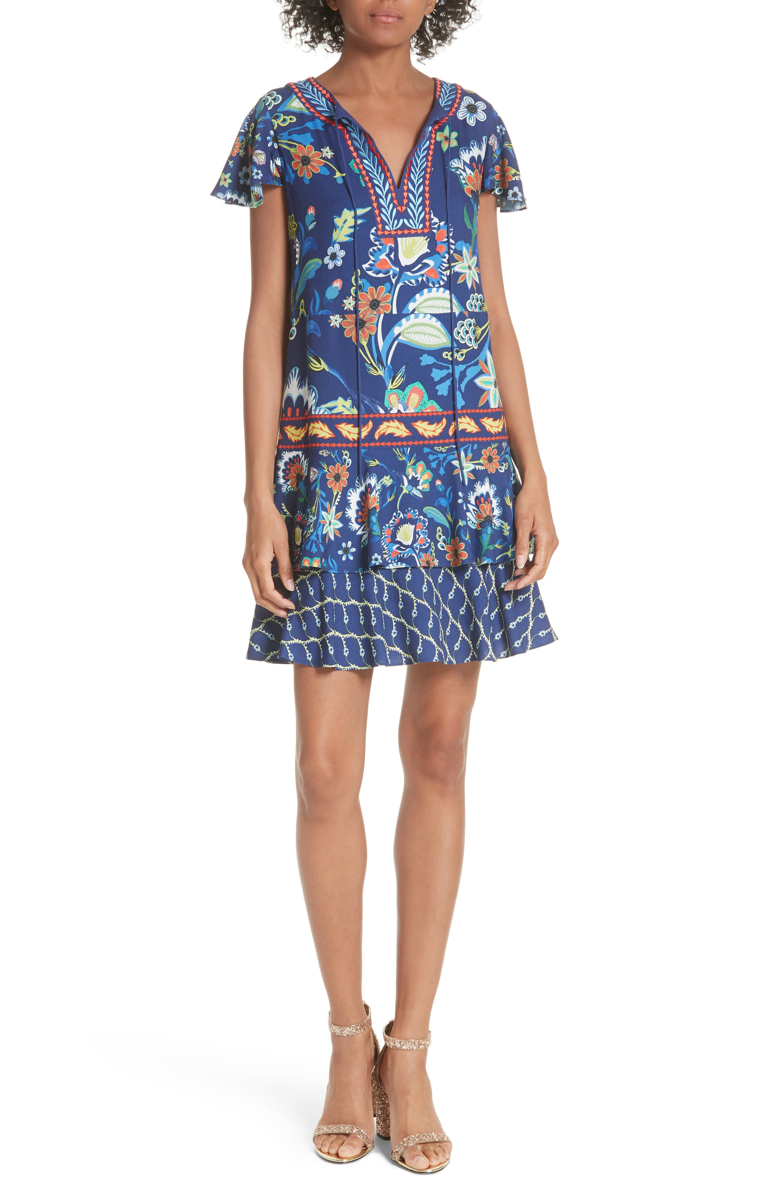 Kora Embroidered Tiered Dress,                         Main,                         color, Multi