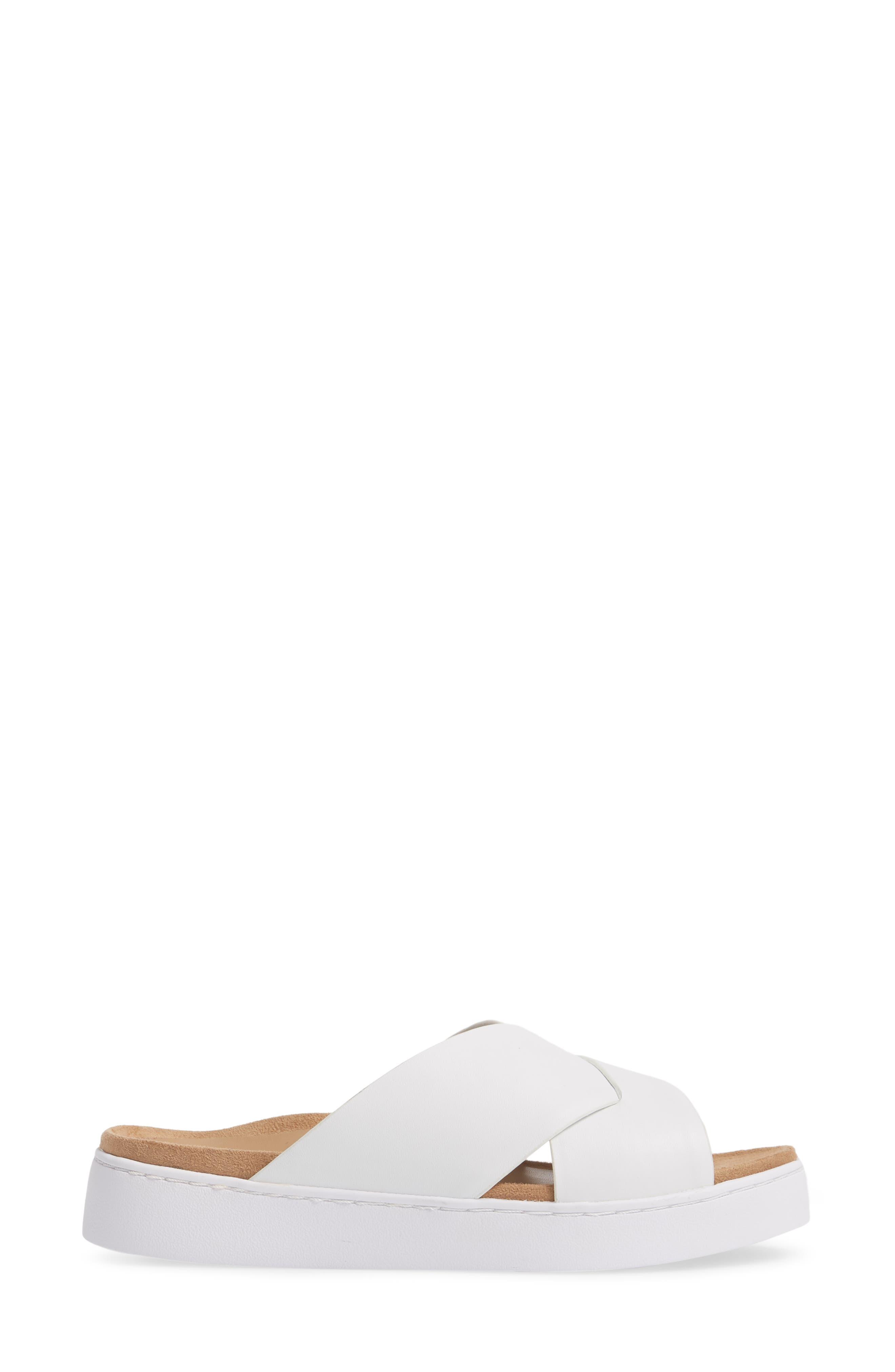 Lou Slide Sandal,                             Alternate thumbnail 3, color,                             White Leather