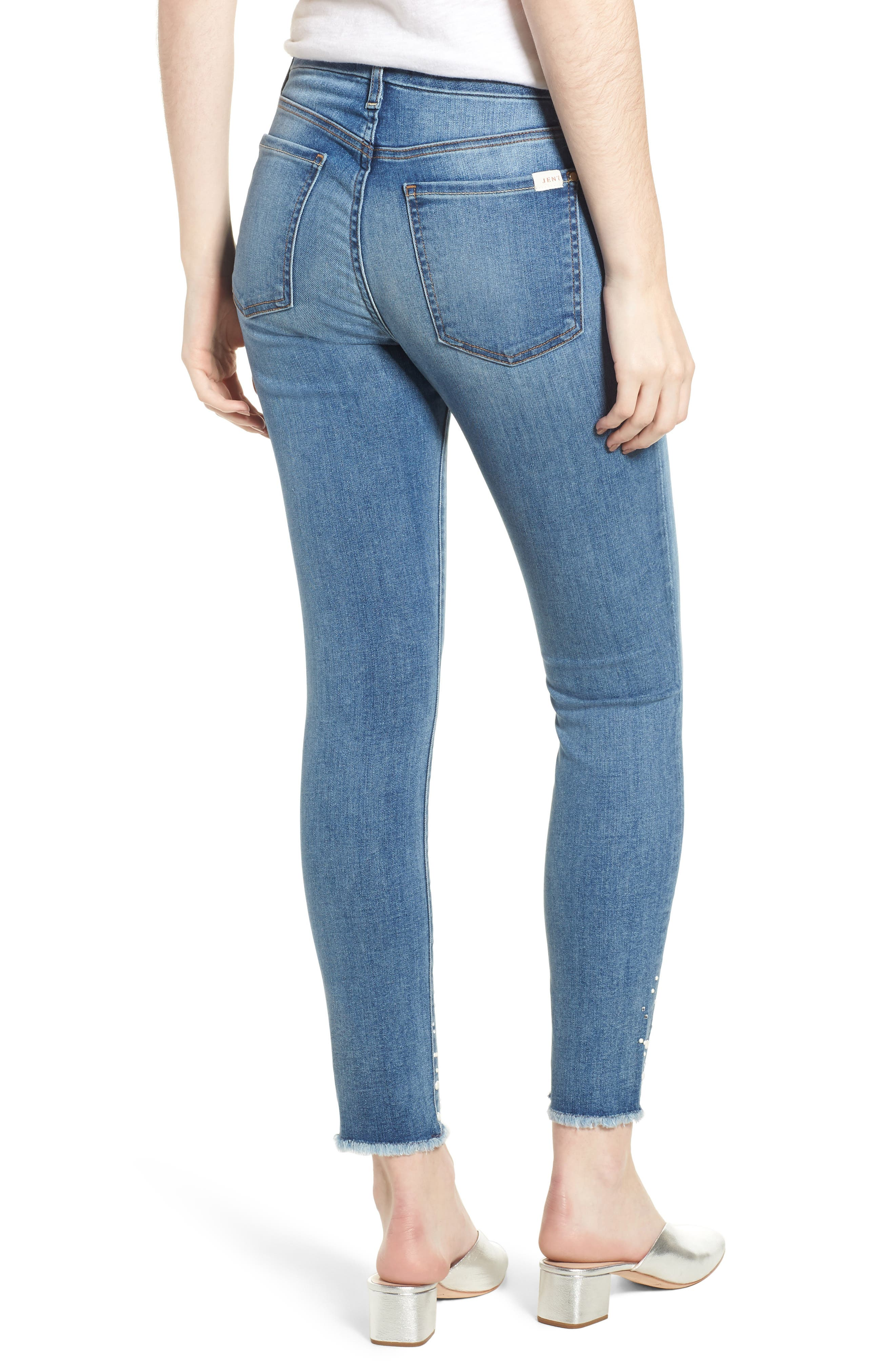Embellished Hem Ankle Skinny Jeans,                             Alternate thumbnail 2, color,                             Sunlight