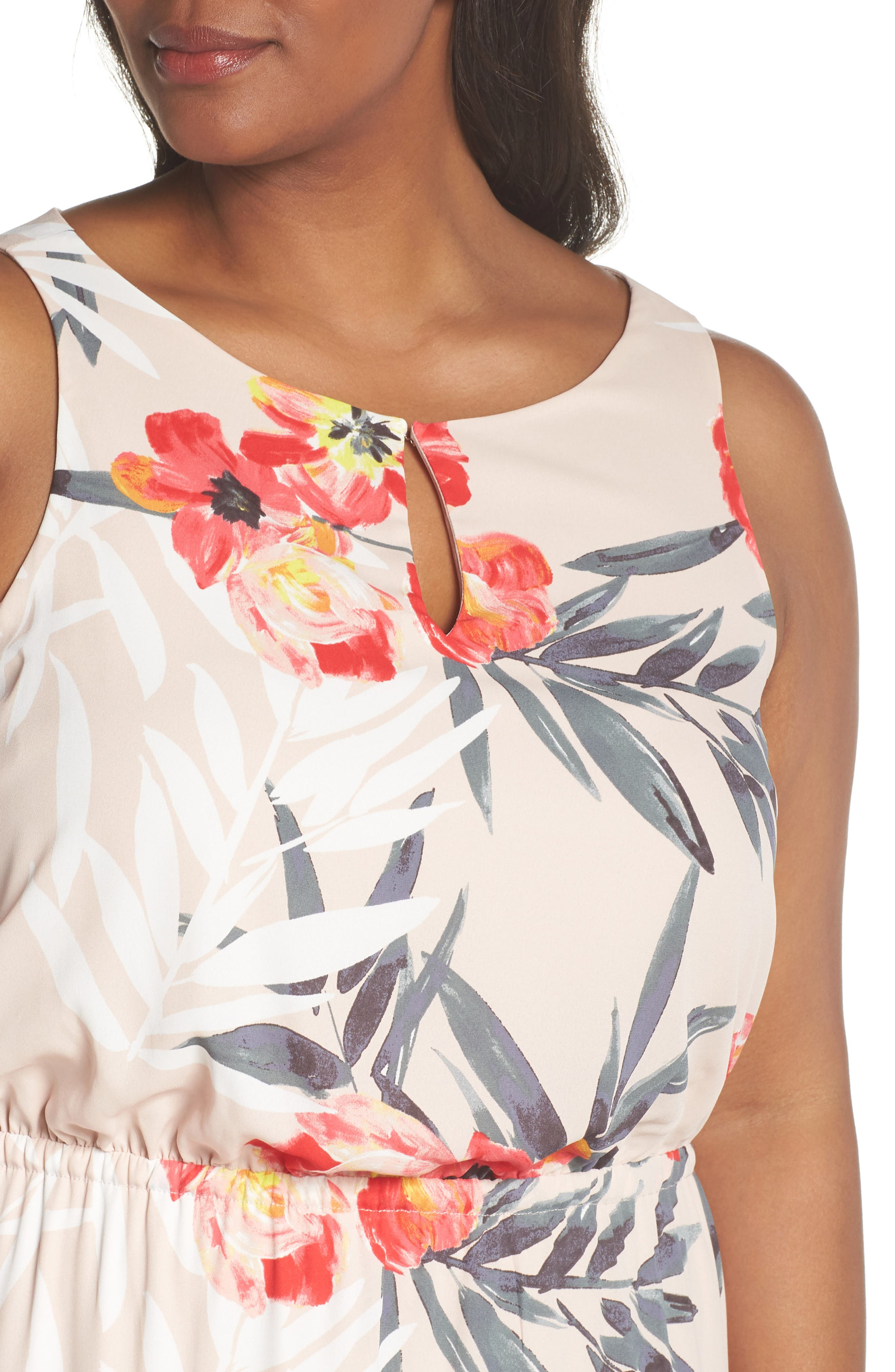 Tropical Breeze Floral Maxi Dress,                             Alternate thumbnail 4, color,                             Geranium Multi
