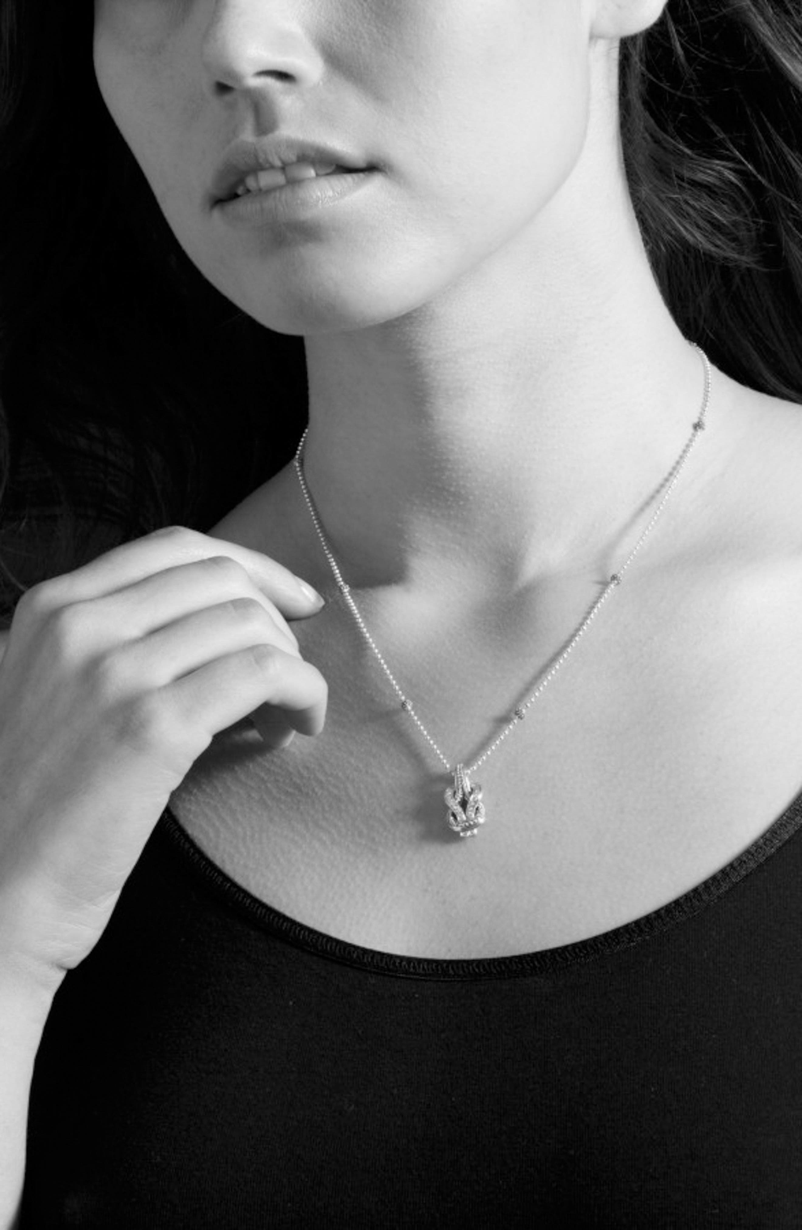 'Newport' Diamond Knot Pendant Necklace,                             Alternate thumbnail 4, color,                             Silver/ Gold