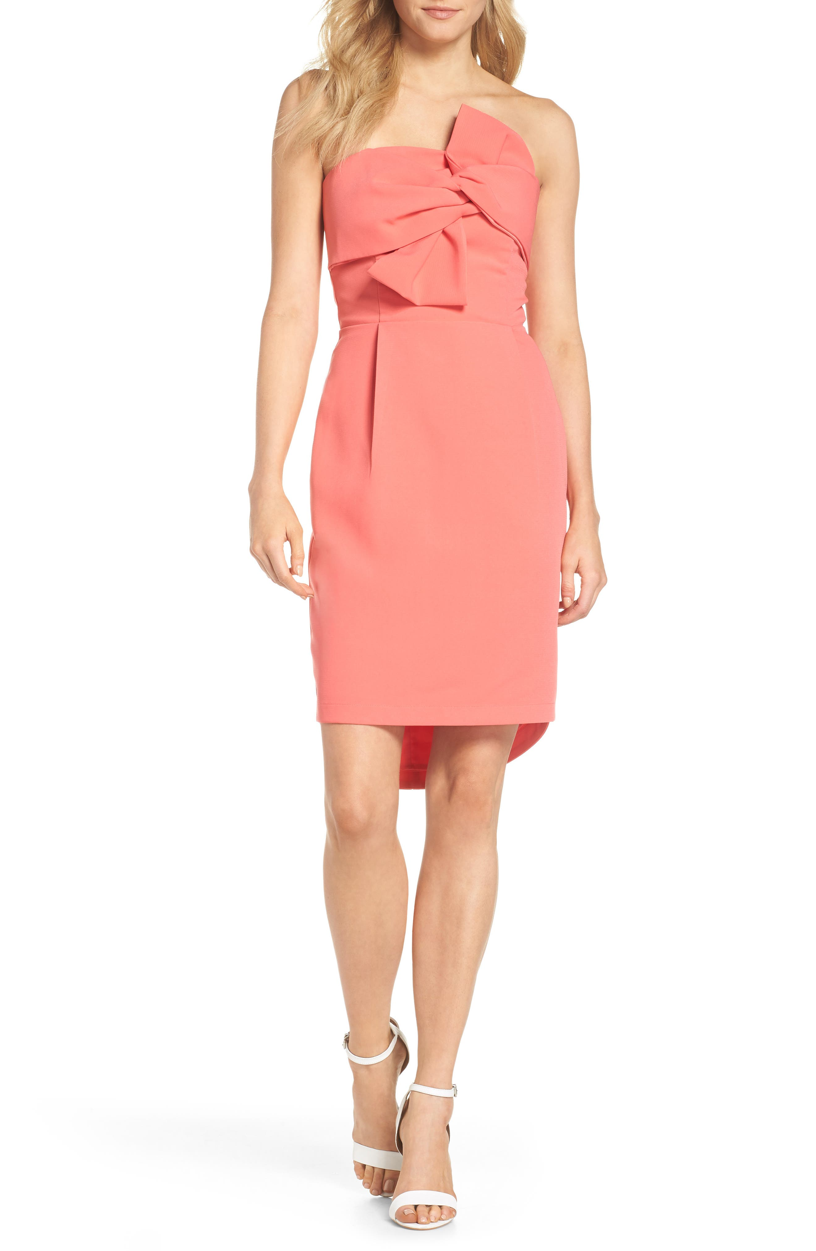 Harper Knotted Strapless Minidress,                             Main thumbnail 1, color,                             Coral