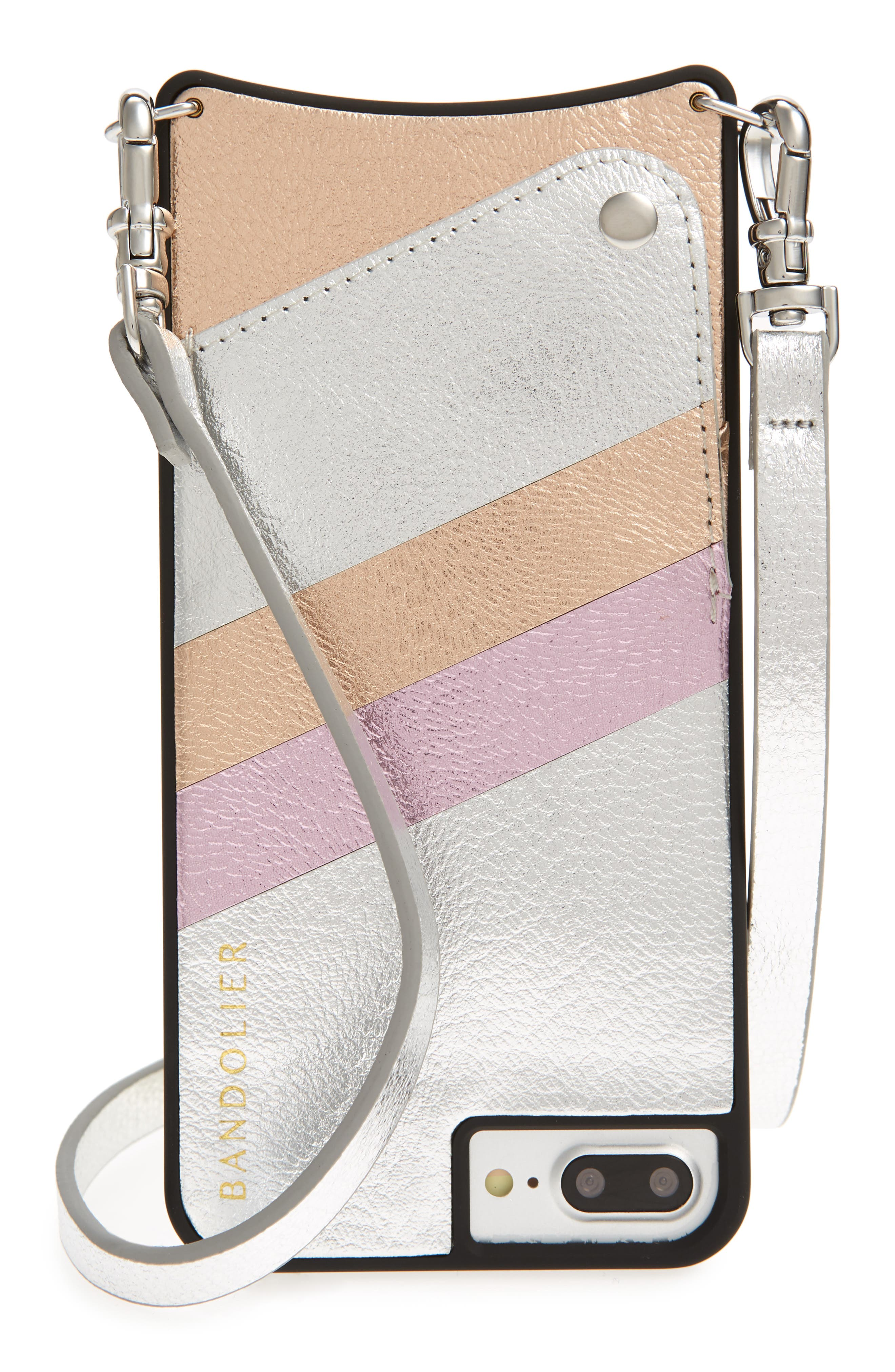 Emma iPhone 6/7/8 & 6/7/8 Plus Crossbody Case,                             Main thumbnail 1, color,                             Silver/ Pink/ Rose