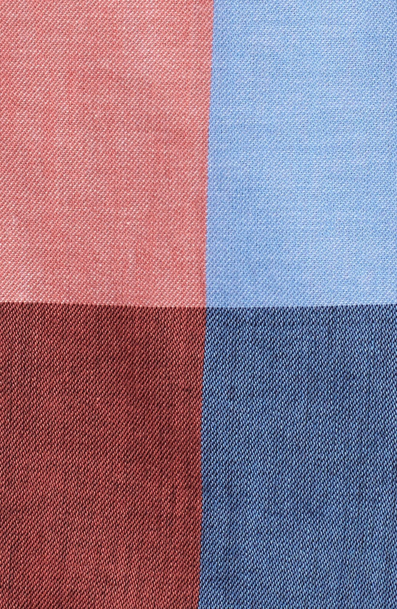 Double Breasted Plaid Cotton Blazer,                             Alternate thumbnail 6, color,                             Pink- Blue Plaid