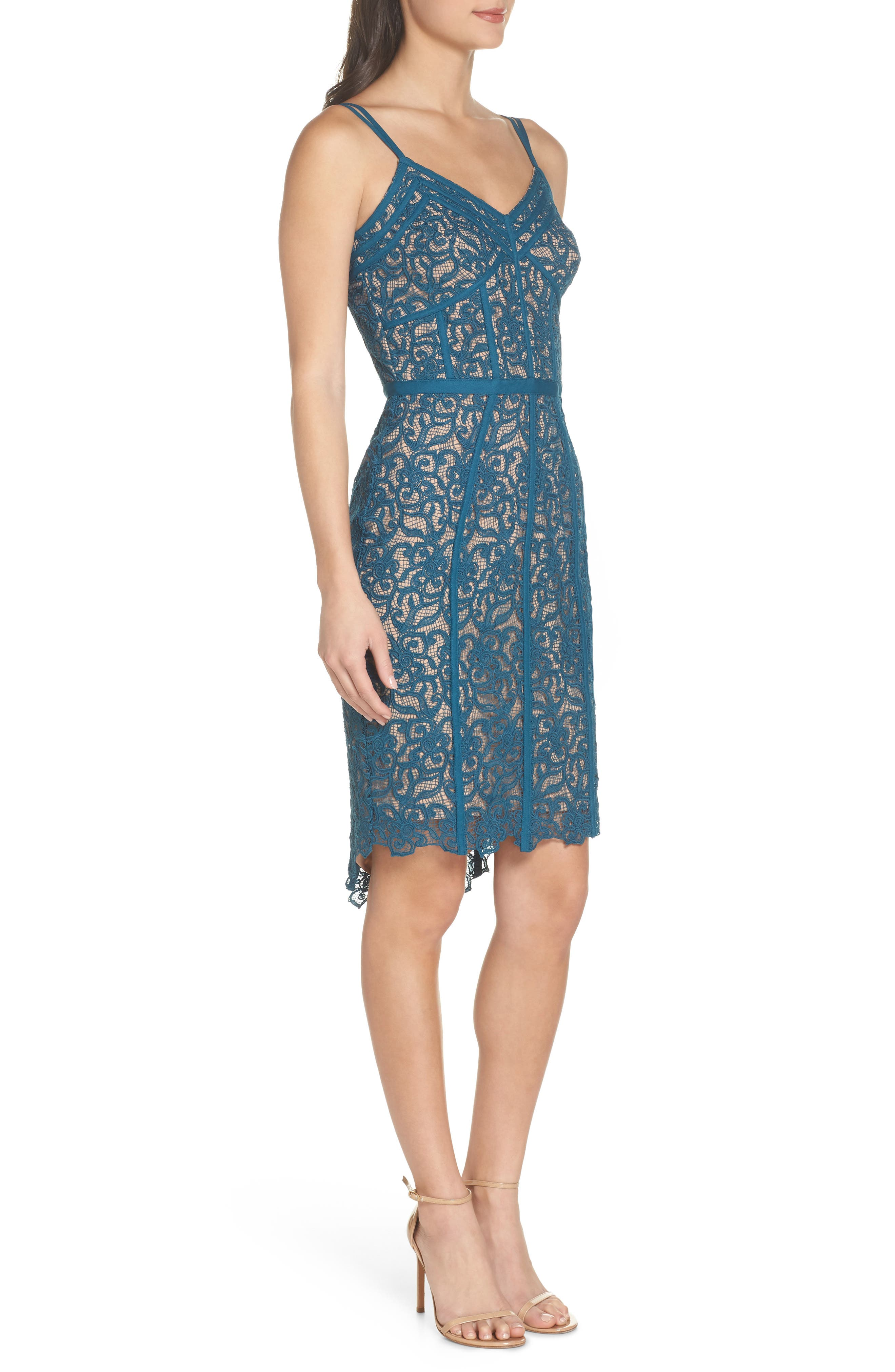 High/Low Hem Lace Cocktail Dress,                             Alternate thumbnail 3, color,                             Teal
