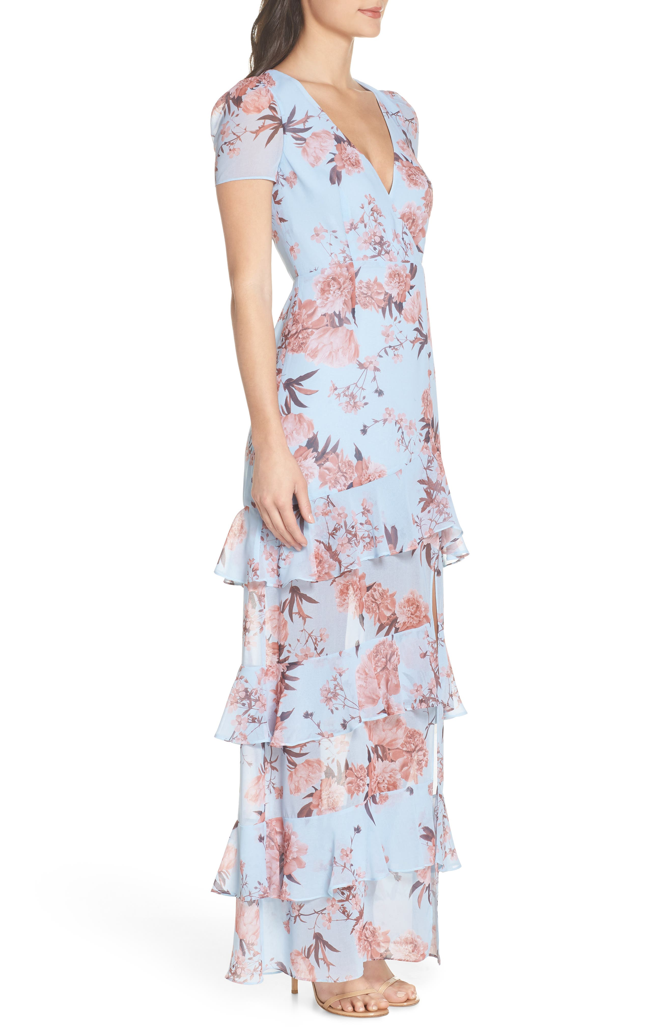 The Pearl Tiered Ruffle Georgette Gown,                             Alternate thumbnail 3, color,                             Sky Blossom Floral