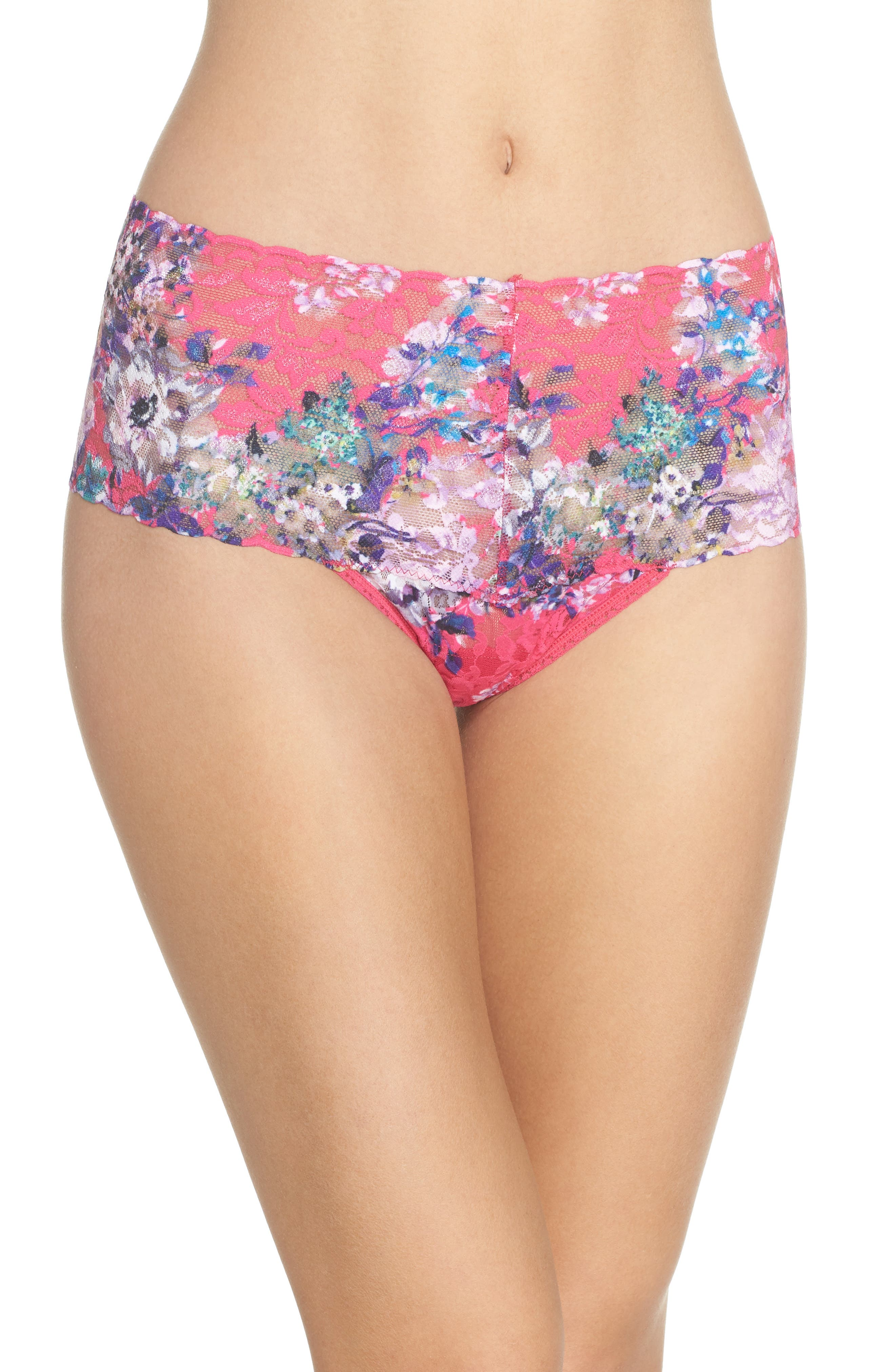 Print Retro Thong,                             Main thumbnail 1, color,                             Pretty In Peony