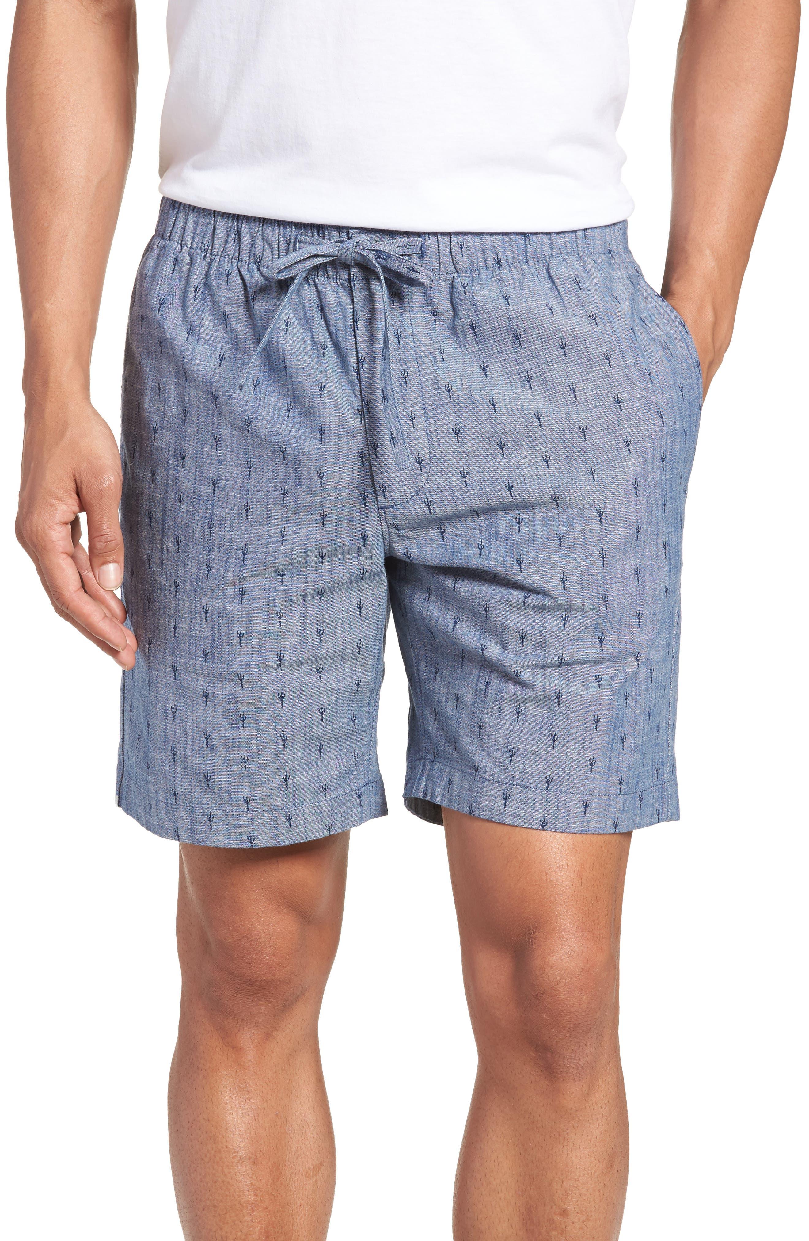 Slim Fit Print Beach Shorts,                         Main,                         color, Cacti Stamp