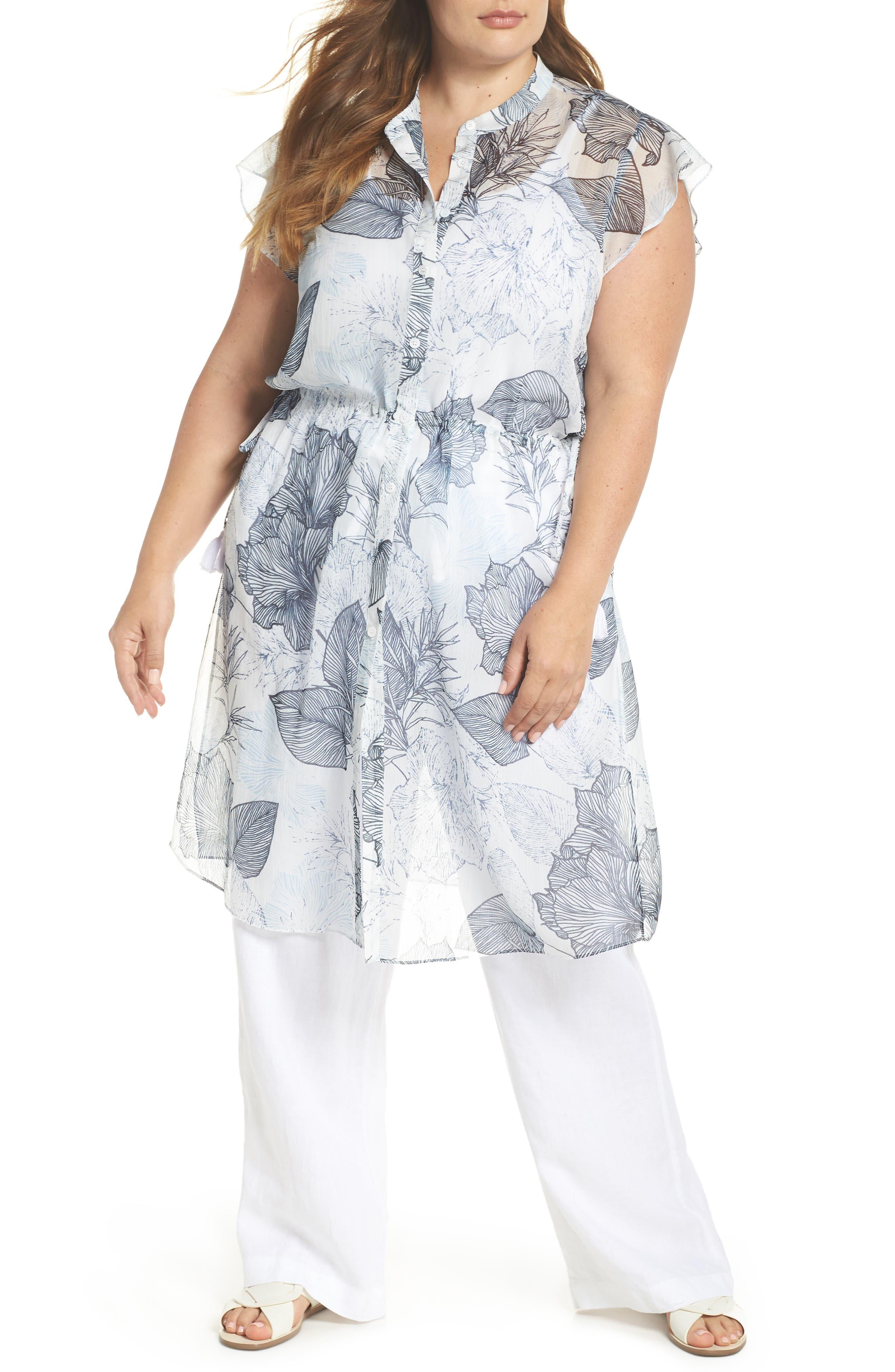 Flutter Sleeve Floral Chiffon Shirt Tunic,                             Main thumbnail 1, color,                             Ultra White