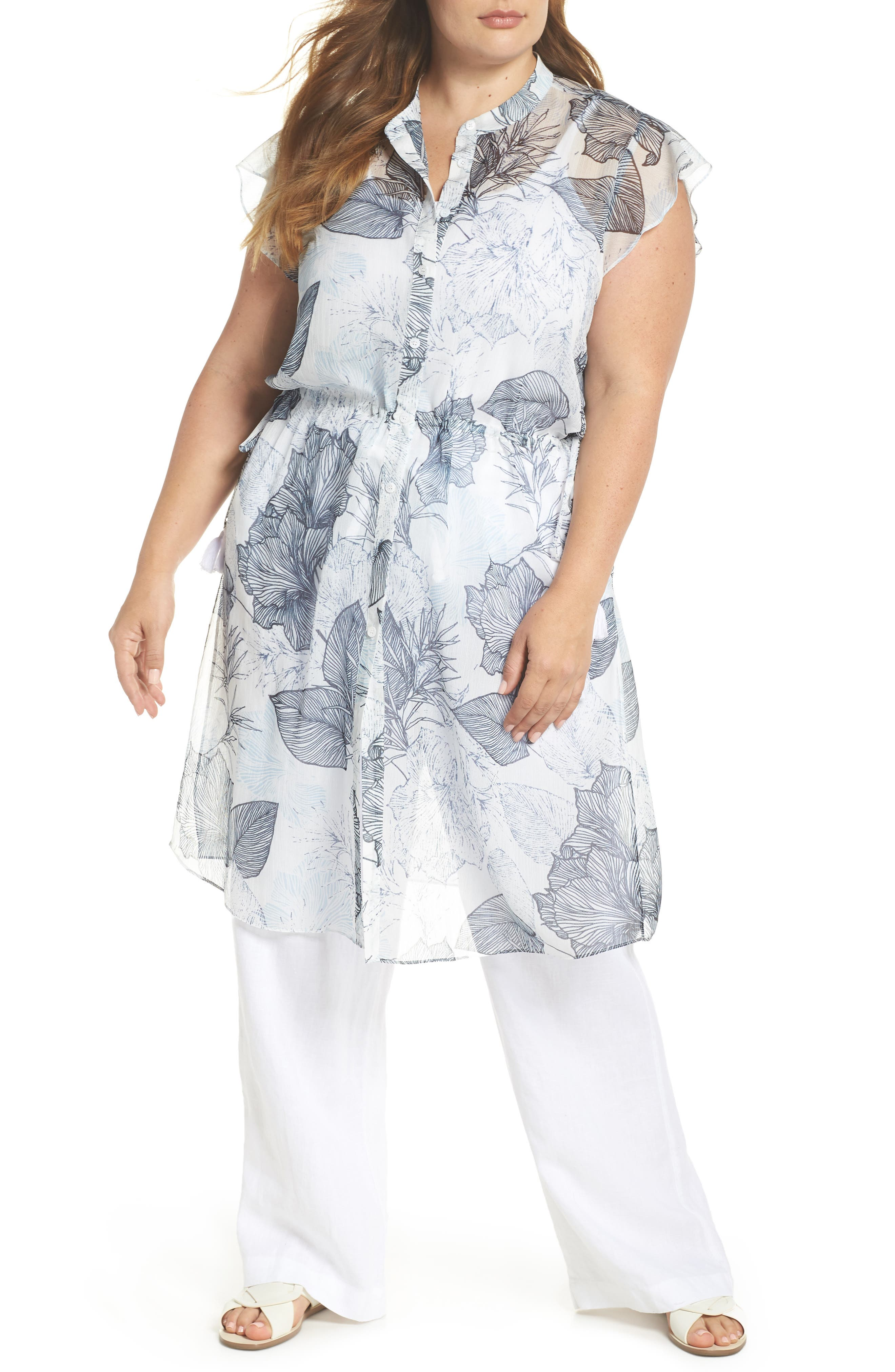 Flutter Sleeve Floral Chiffon Shirt Tunic,                         Main,                         color, Ultra White