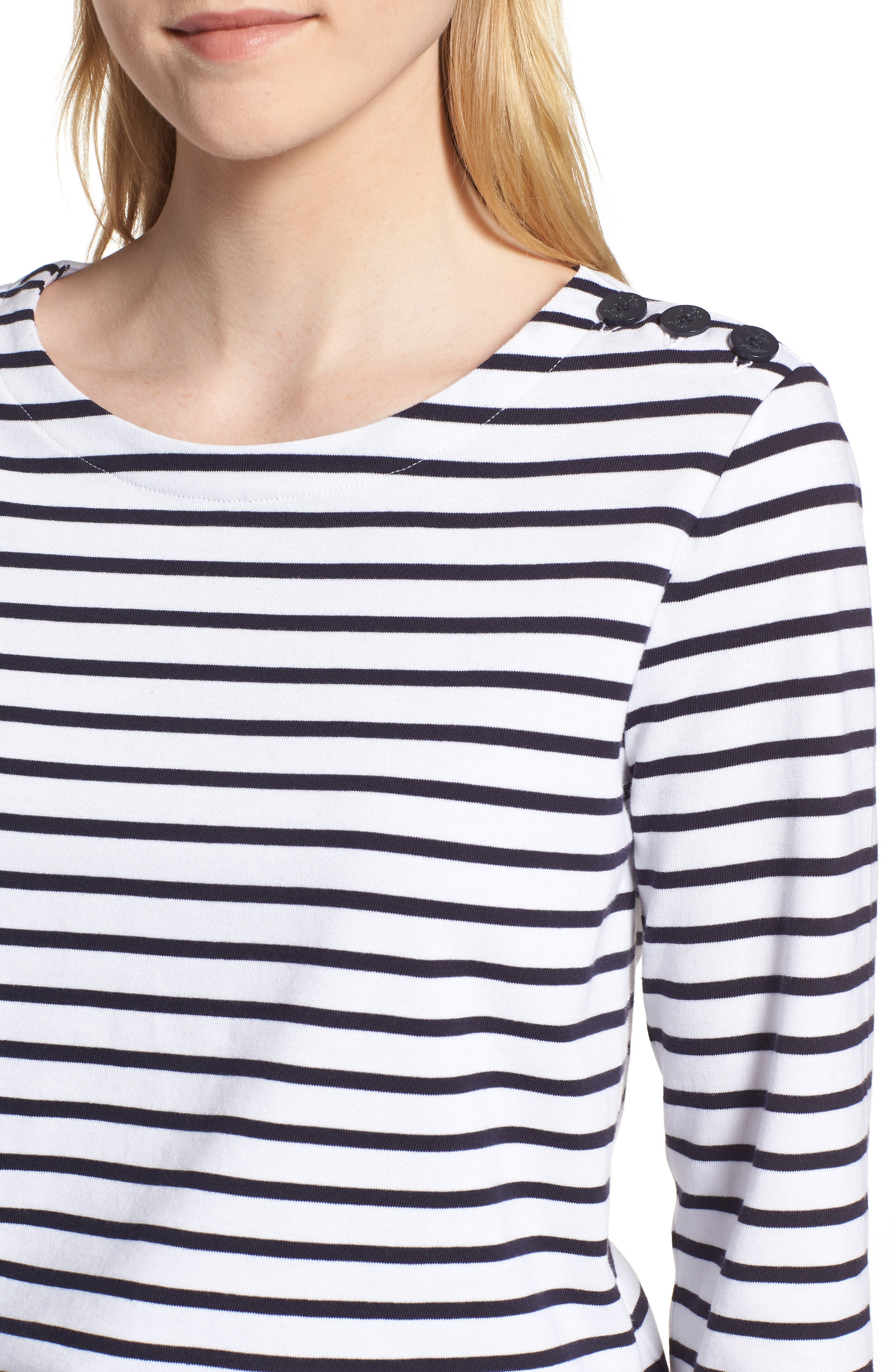 Shoulder Button Cotton Top,                             Alternate thumbnail 4, color,                             White- Navy Stripe