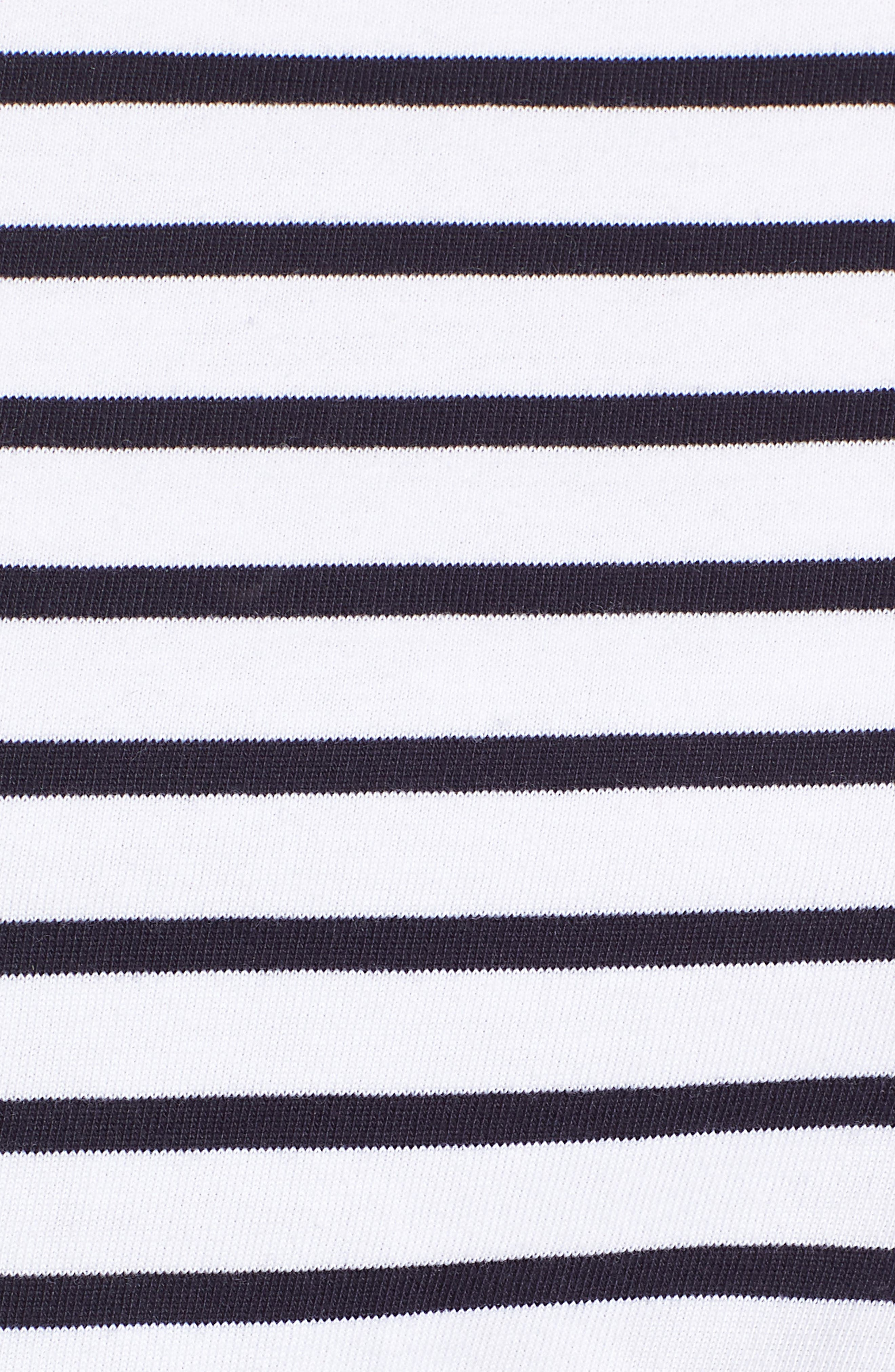 Shoulder Button Cotton Top,                             Alternate thumbnail 6, color,                             White- Navy Stripe