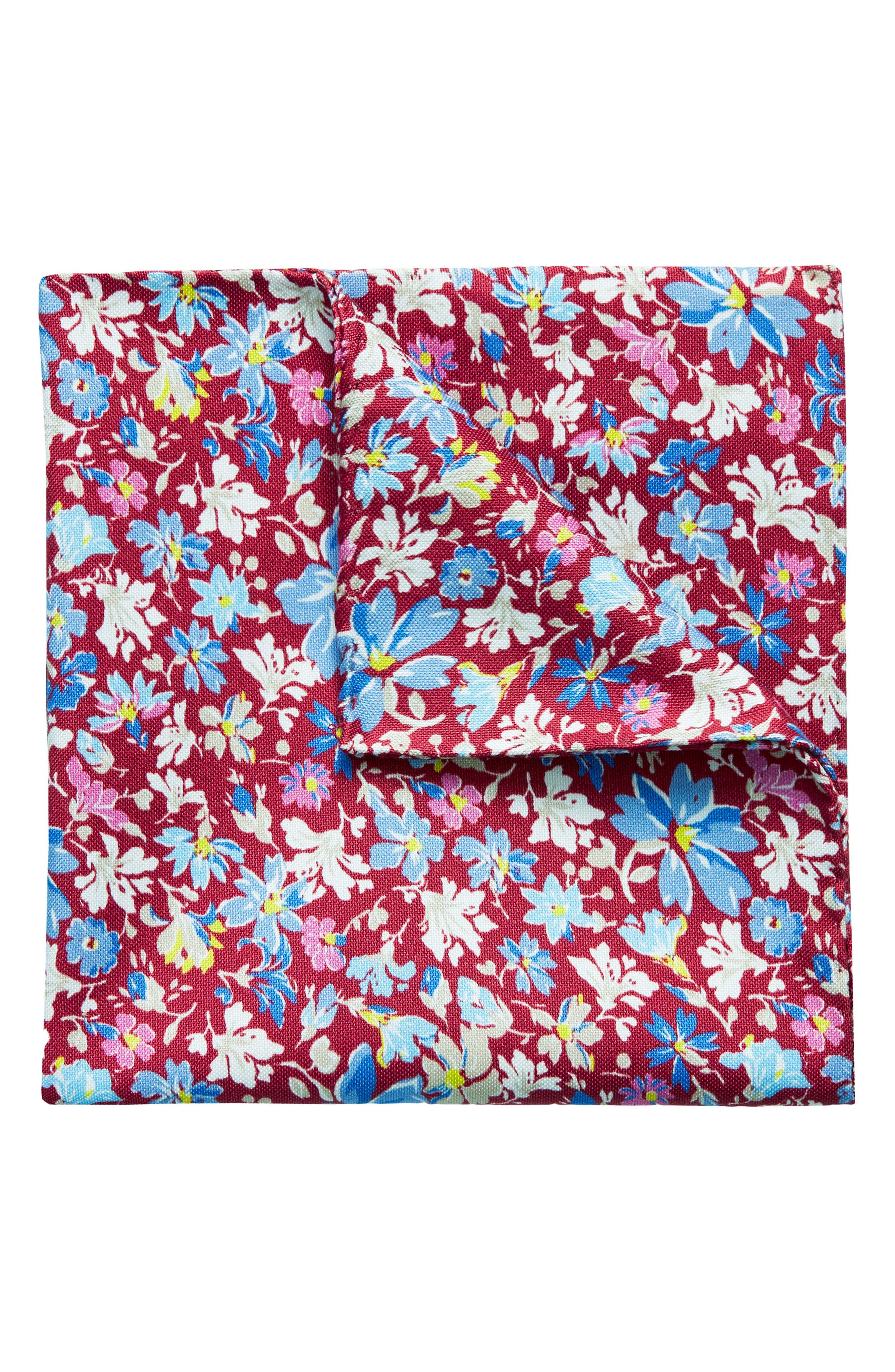 Floral Cotton & Silk Pocket Square,                         Main,                         color, Red