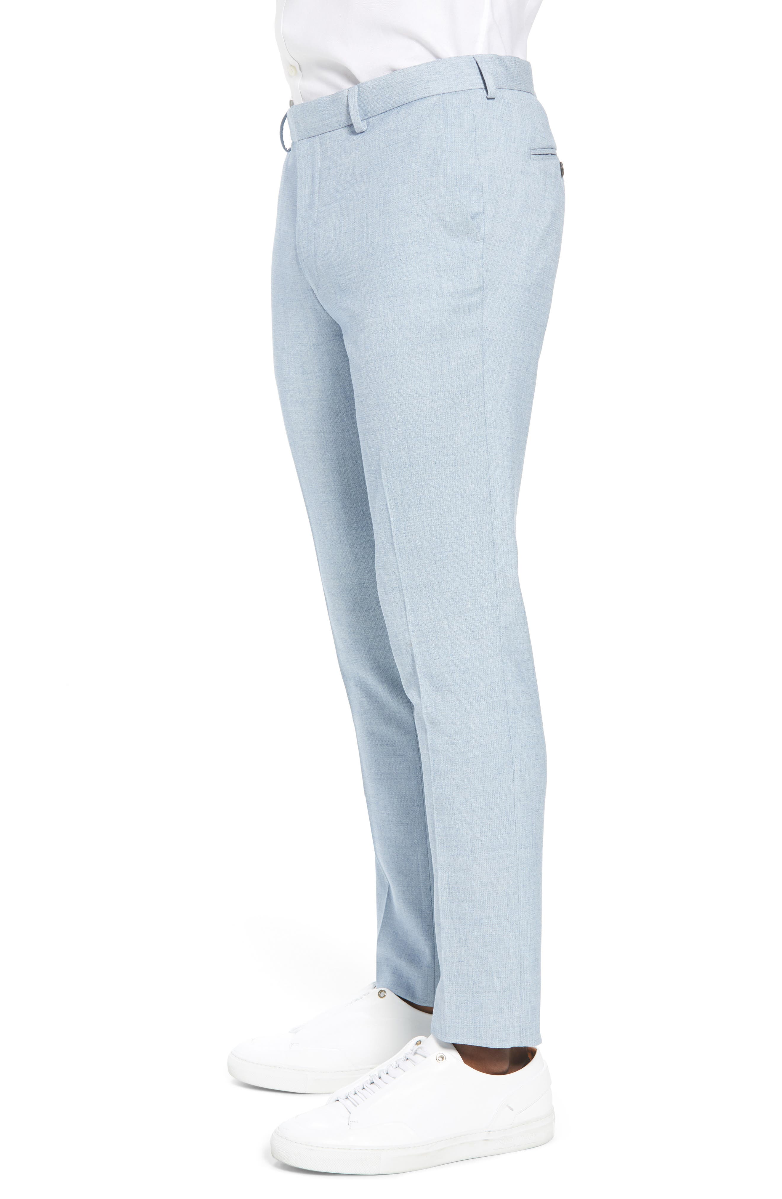 Stretch Skinny Fit Suit Trousers,                             Alternate thumbnail 3, color,                             Blue
