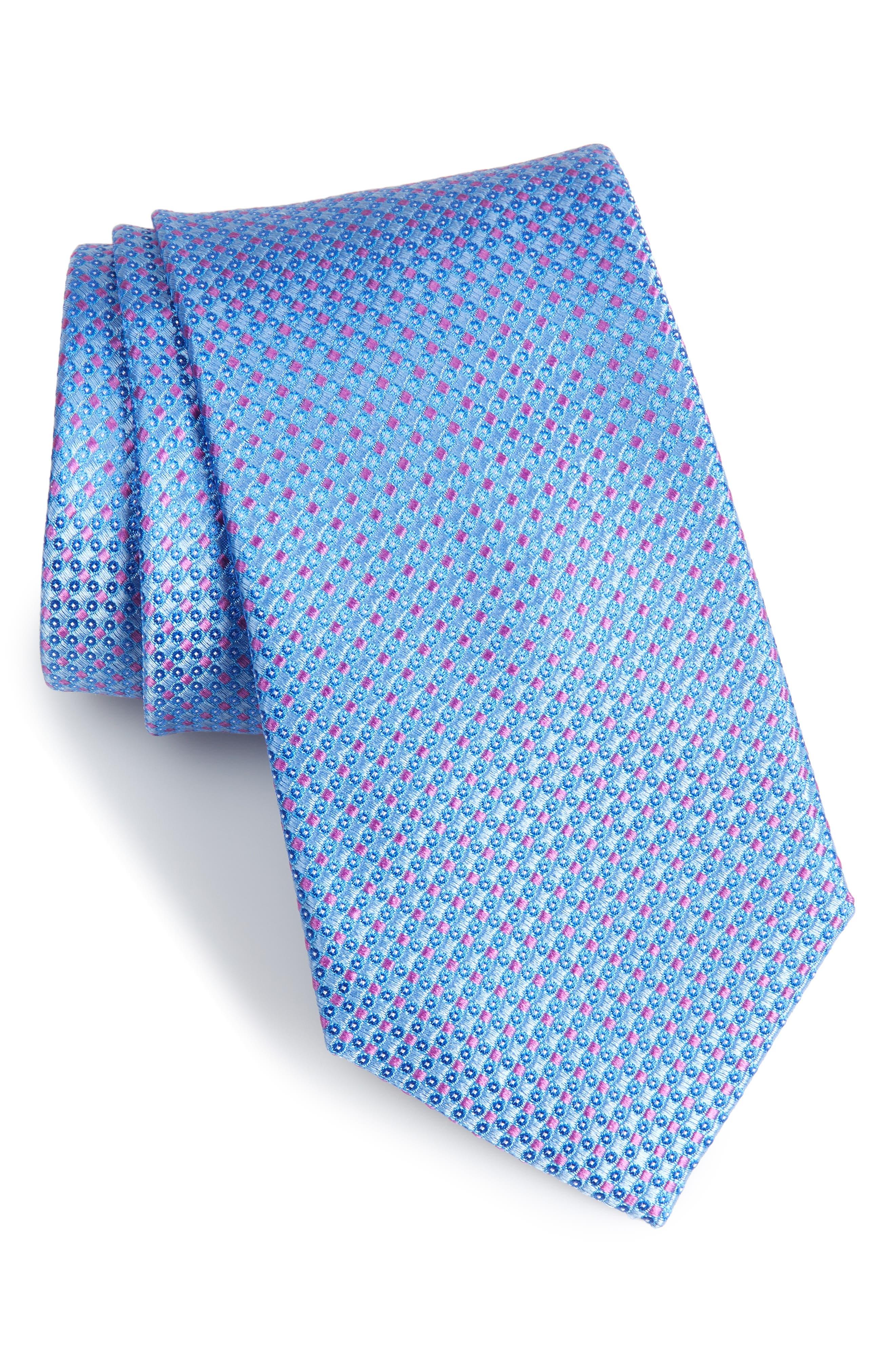 Bagni Check Tie,                             Main thumbnail 1, color,                             Light Blue