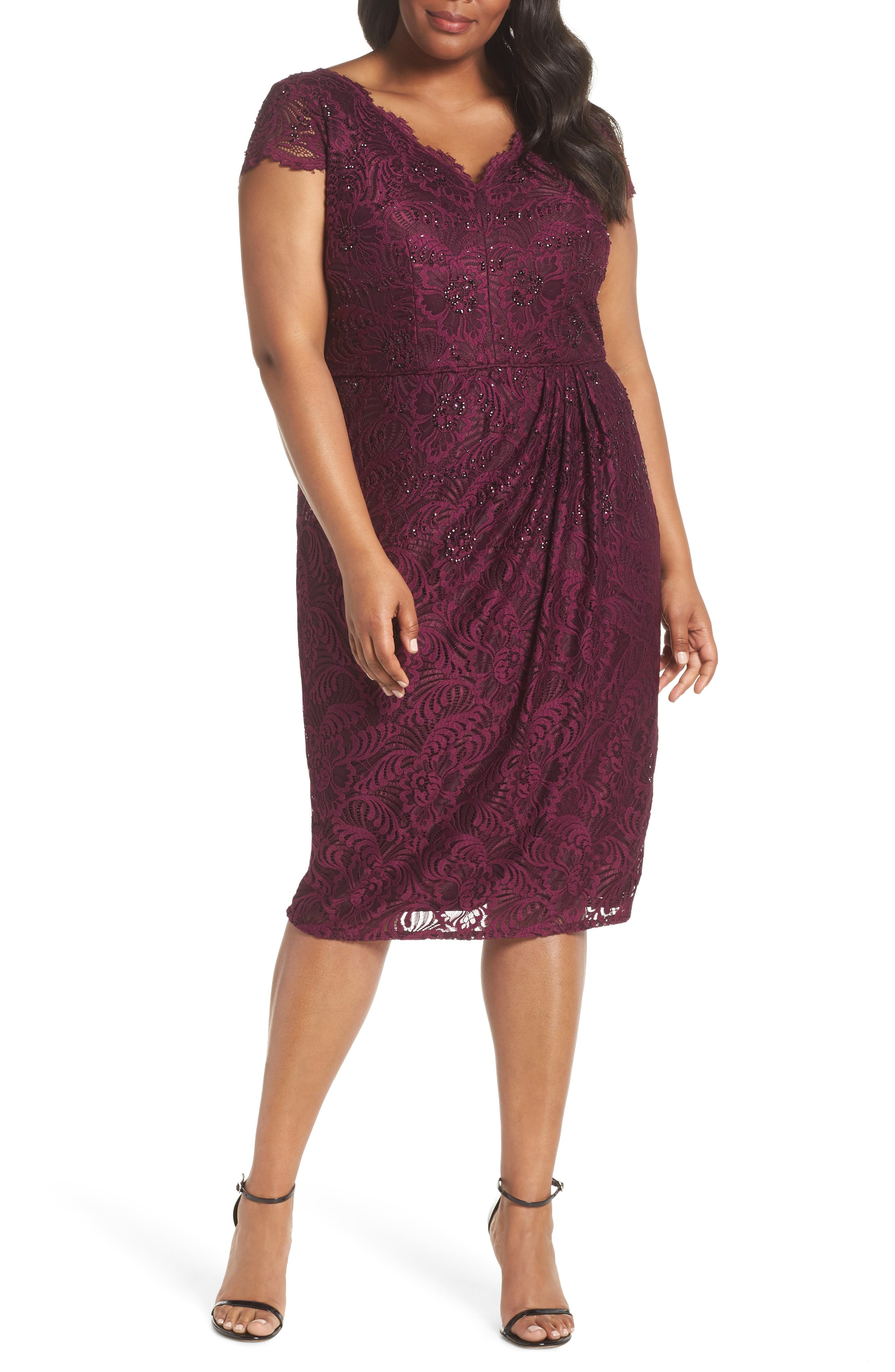 Embellished Stretch Lace Sheath Dress,                         Main,                         color, Mulberry
