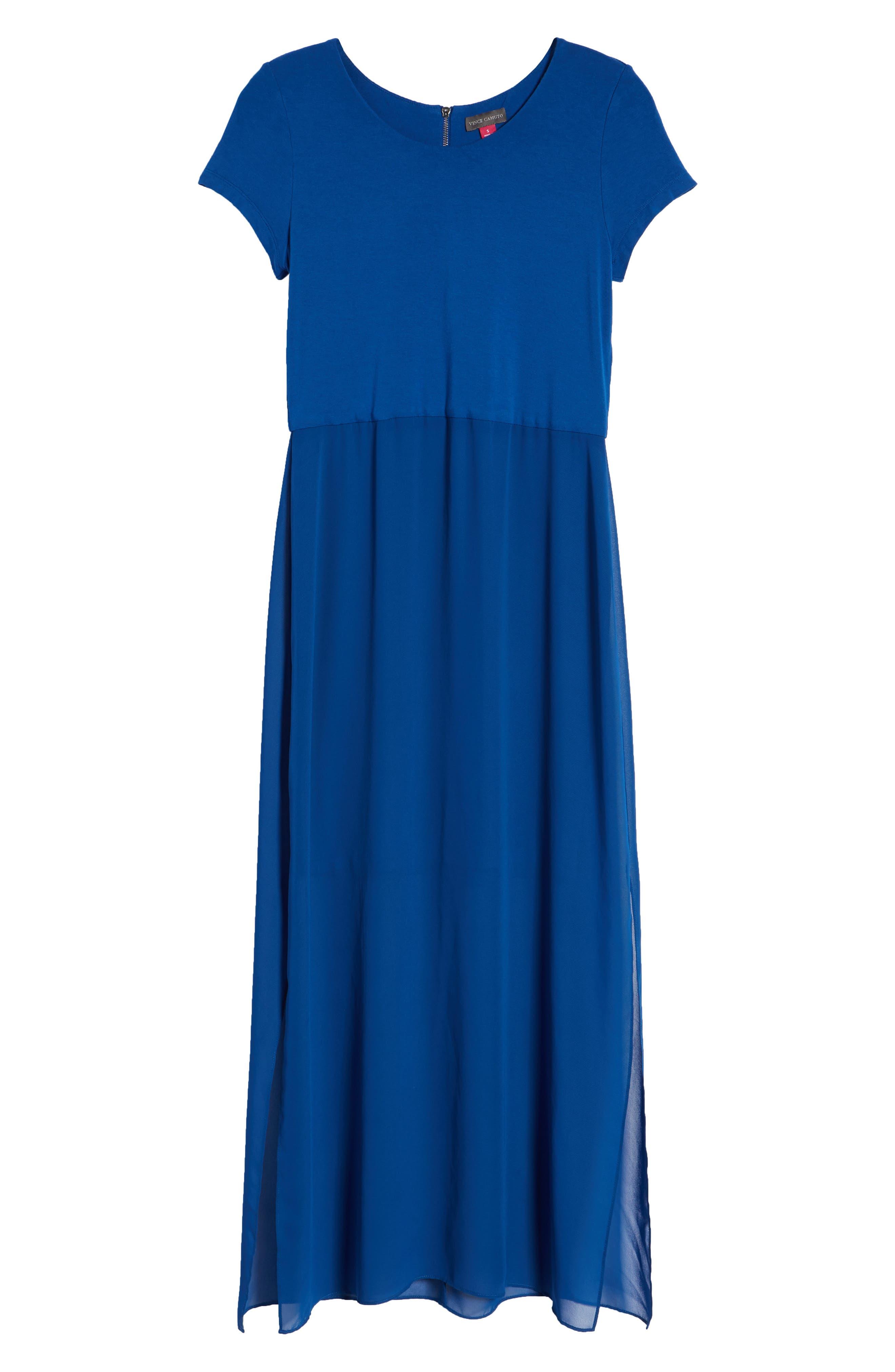 Chiffon Overlay Maxi Dress,                             Alternate thumbnail 7, color,                             Amalfi Blue